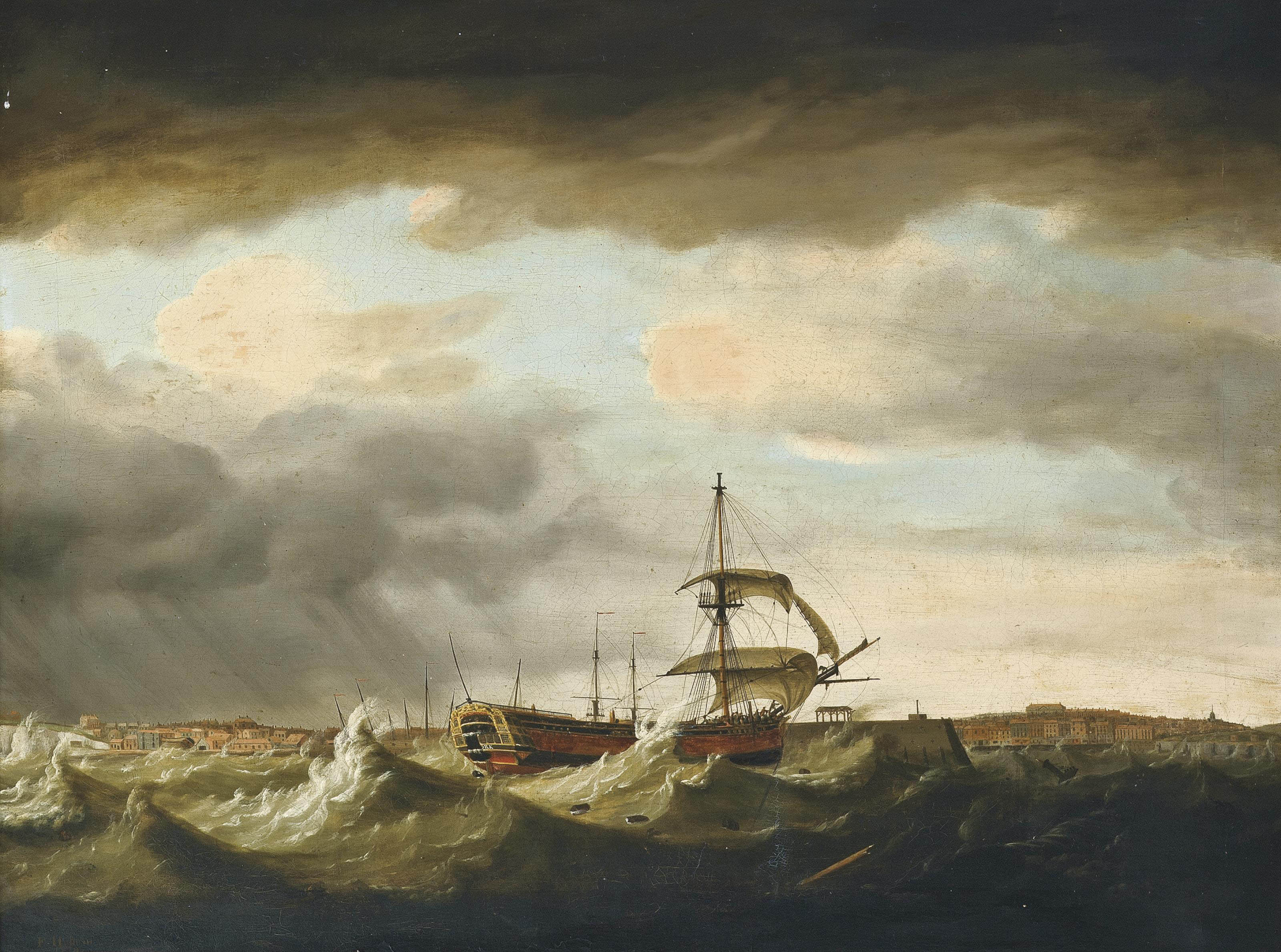 The East Indiaman York in difficulties off Margate during the gale of 1st January 1779
