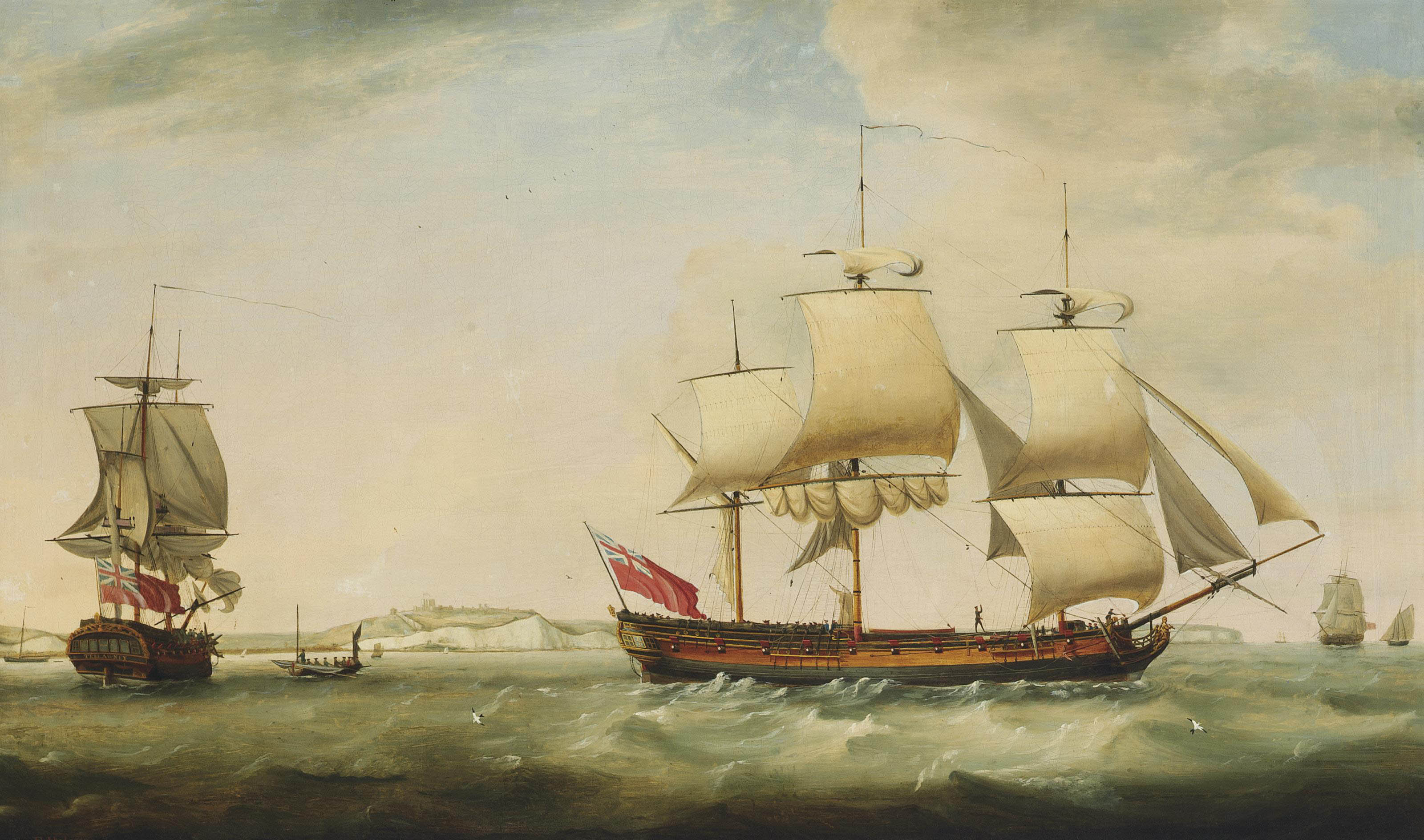 The merchantman Trelawney in two positions in the Channel off Dover