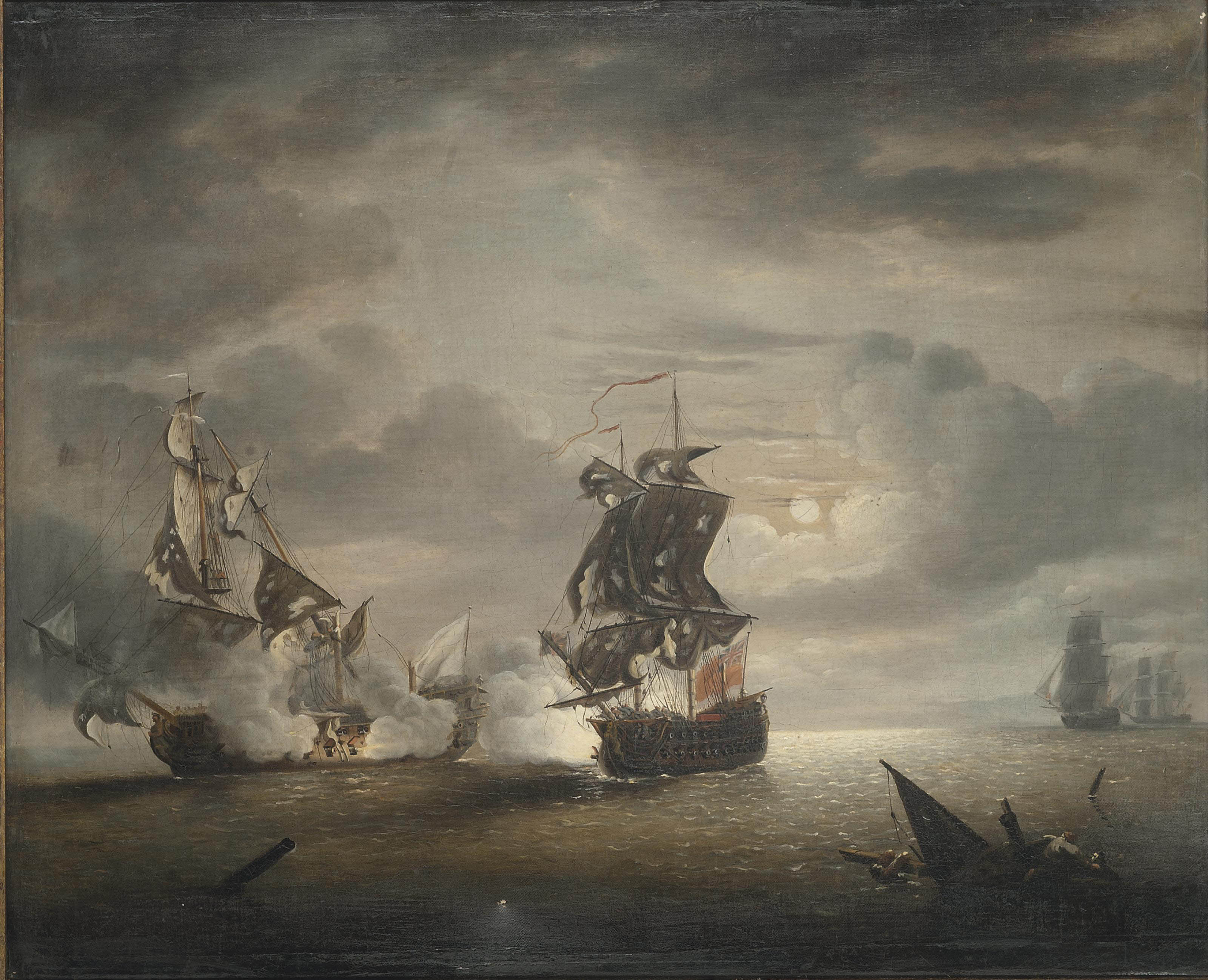 The Battle of Cartagena, 28th February 1758: Capture of the Foudroyant by H.M.S. Monmouth