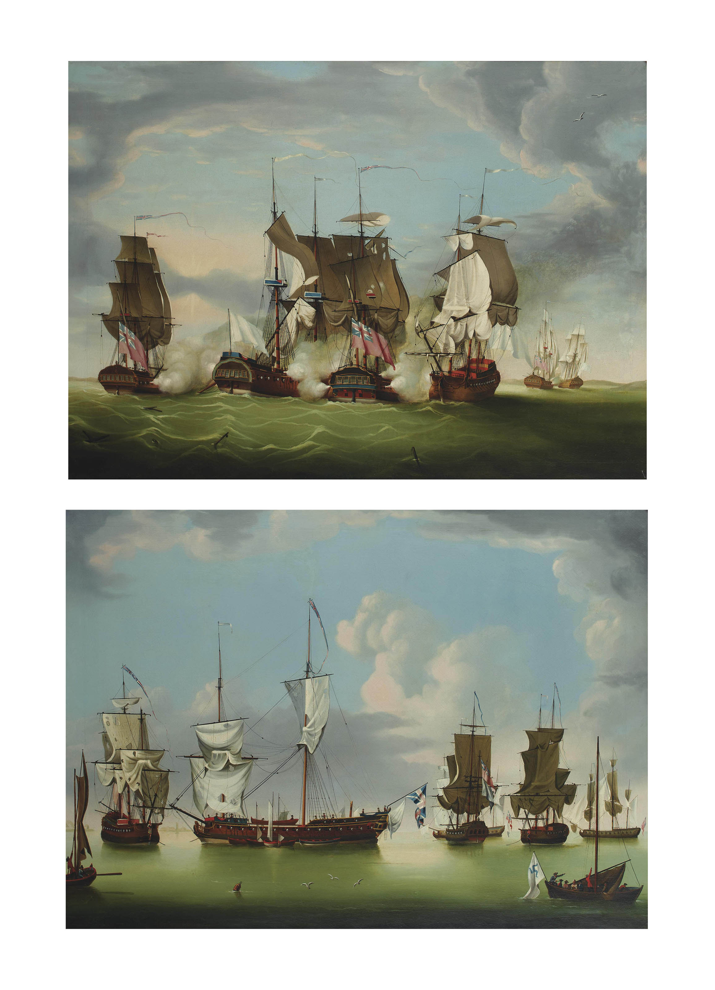 Defeating Thurot: The gallant action off the Isle of Man, 28th February 1760; and After the action, the victorious English frigates with their French prizes Maréchal de Belle-Isle, Terpischore and Blonde (both illustrated)