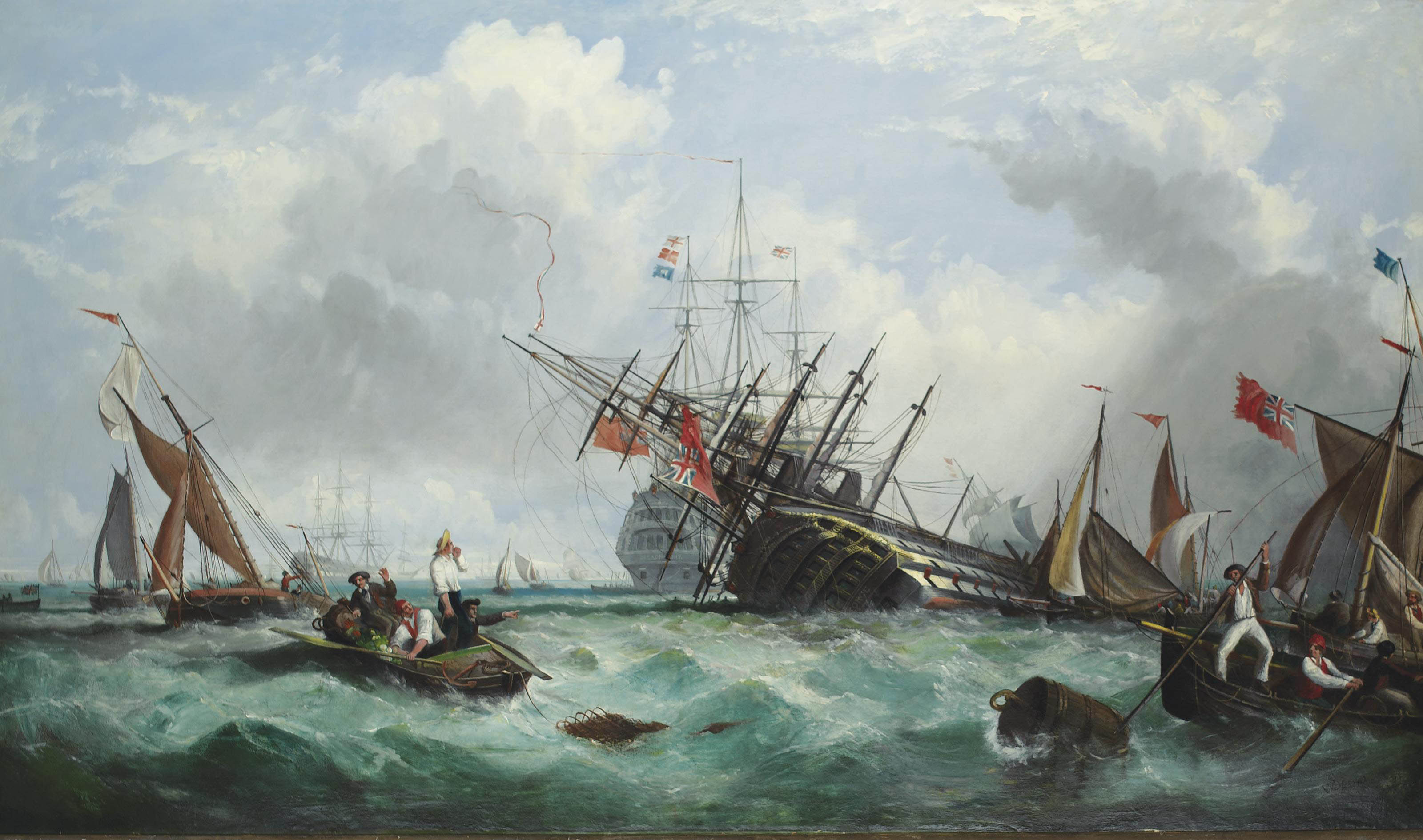 The loss of the 100-gun First Rate H.M.S. Royal George at Spithead, 29th August 1782
