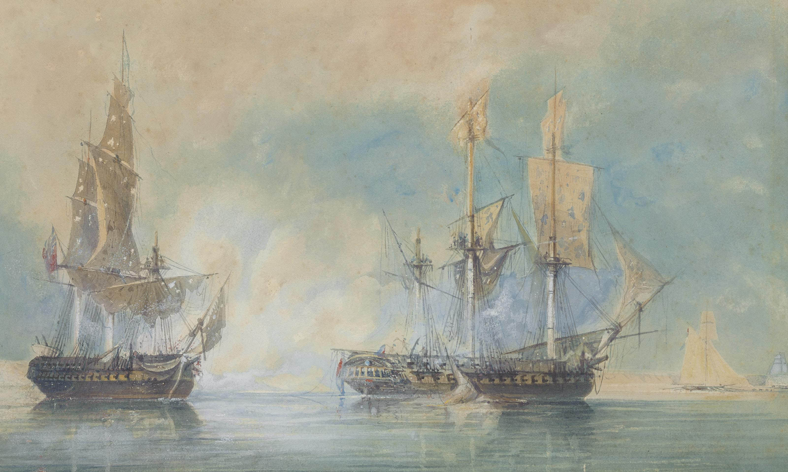 H.M.S. Crescent, under the command of Captain James Saumarez, capturing the French frigate Réunion off Cherbourg, 20th October 1793