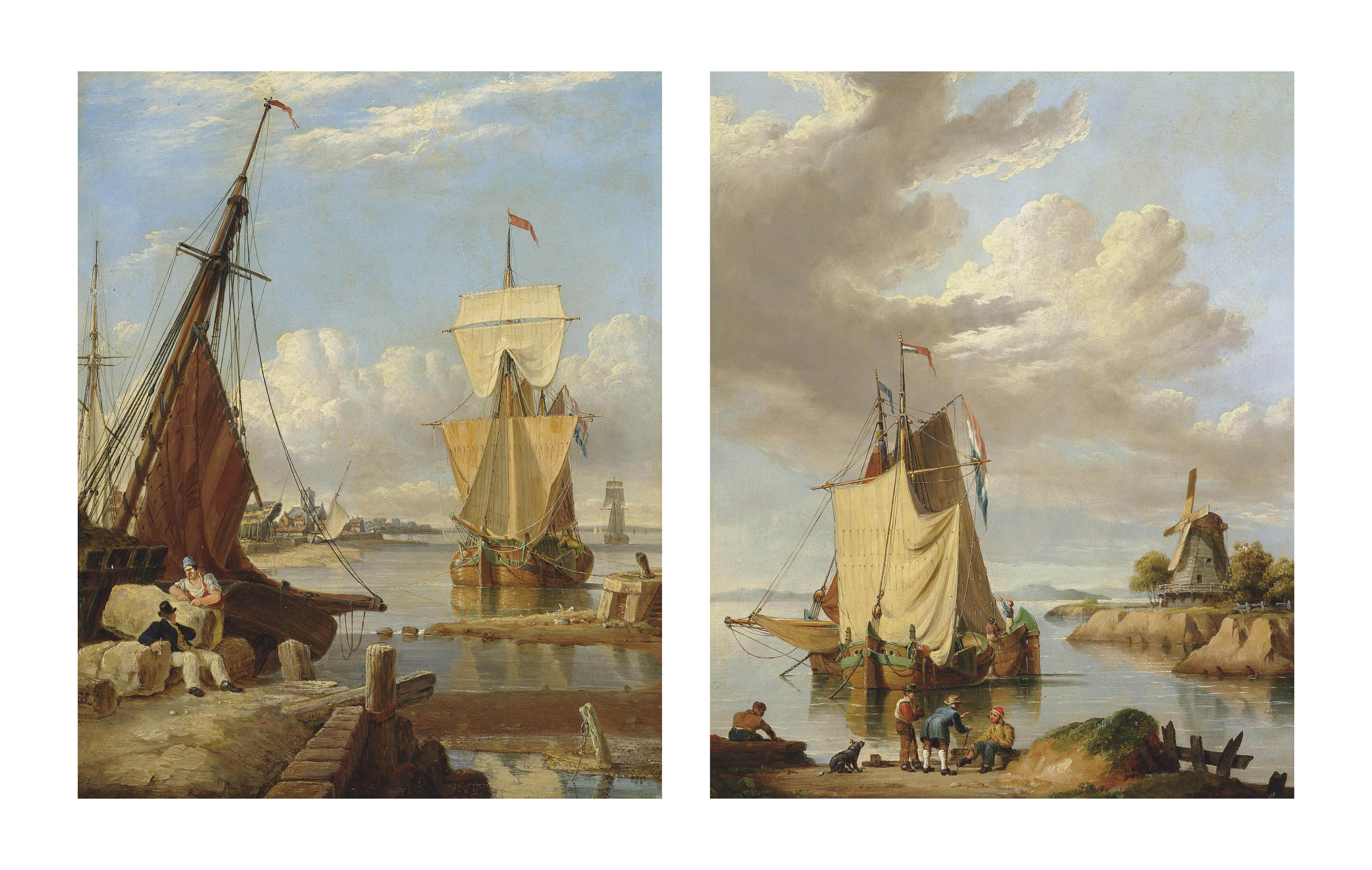 A Dutch galliot anchored off a low countries port with two figures conversing on the foreshore; and Two Dutch galliots drying their sails at the end of the day, figures and a dog in the foreground and a windmill beyond (both illustrated)