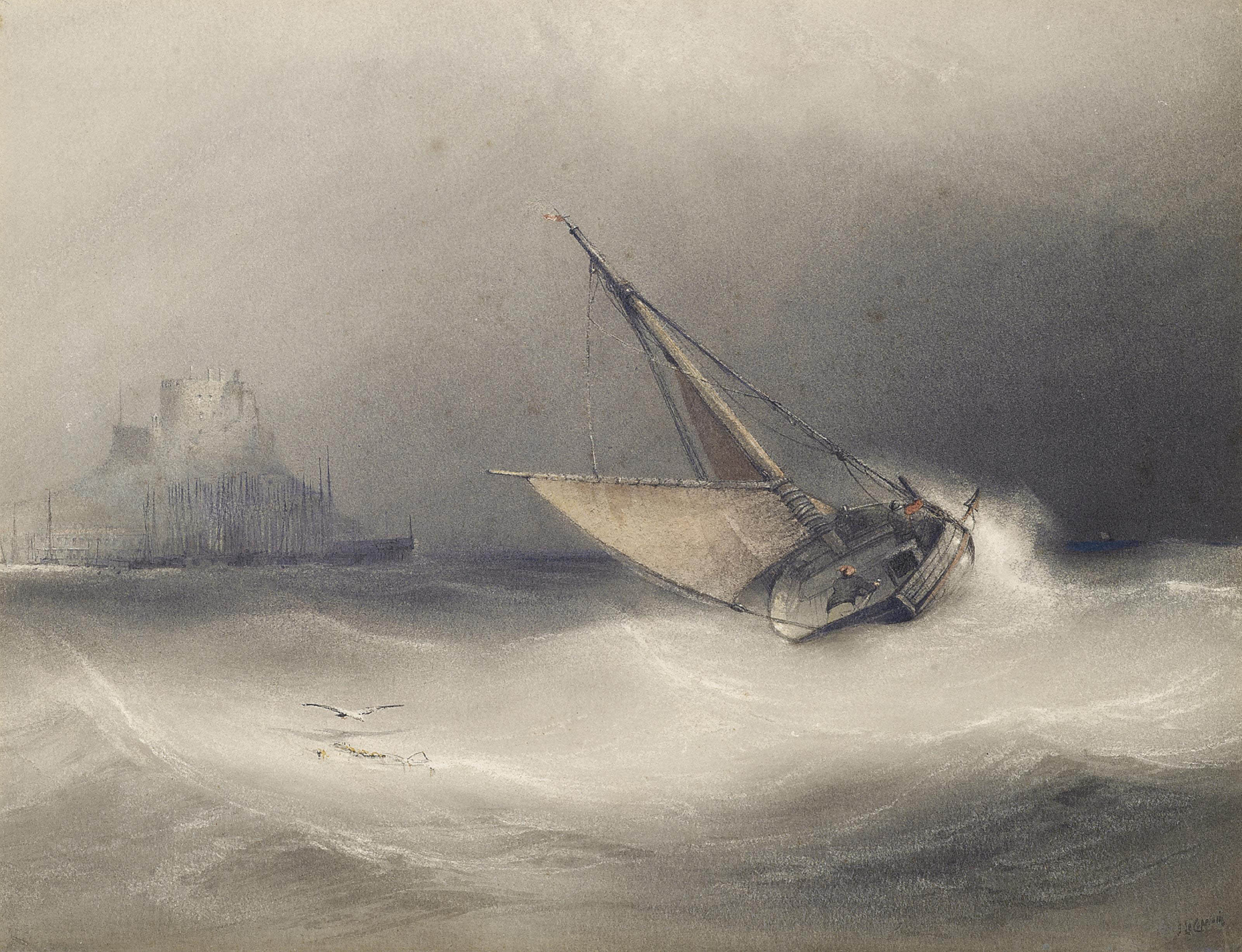A fishing boat heeling in the breeze off Mount Orgeuil Castle, Jersey (illustrated); and Shipping in a stiff breeze off Jersey