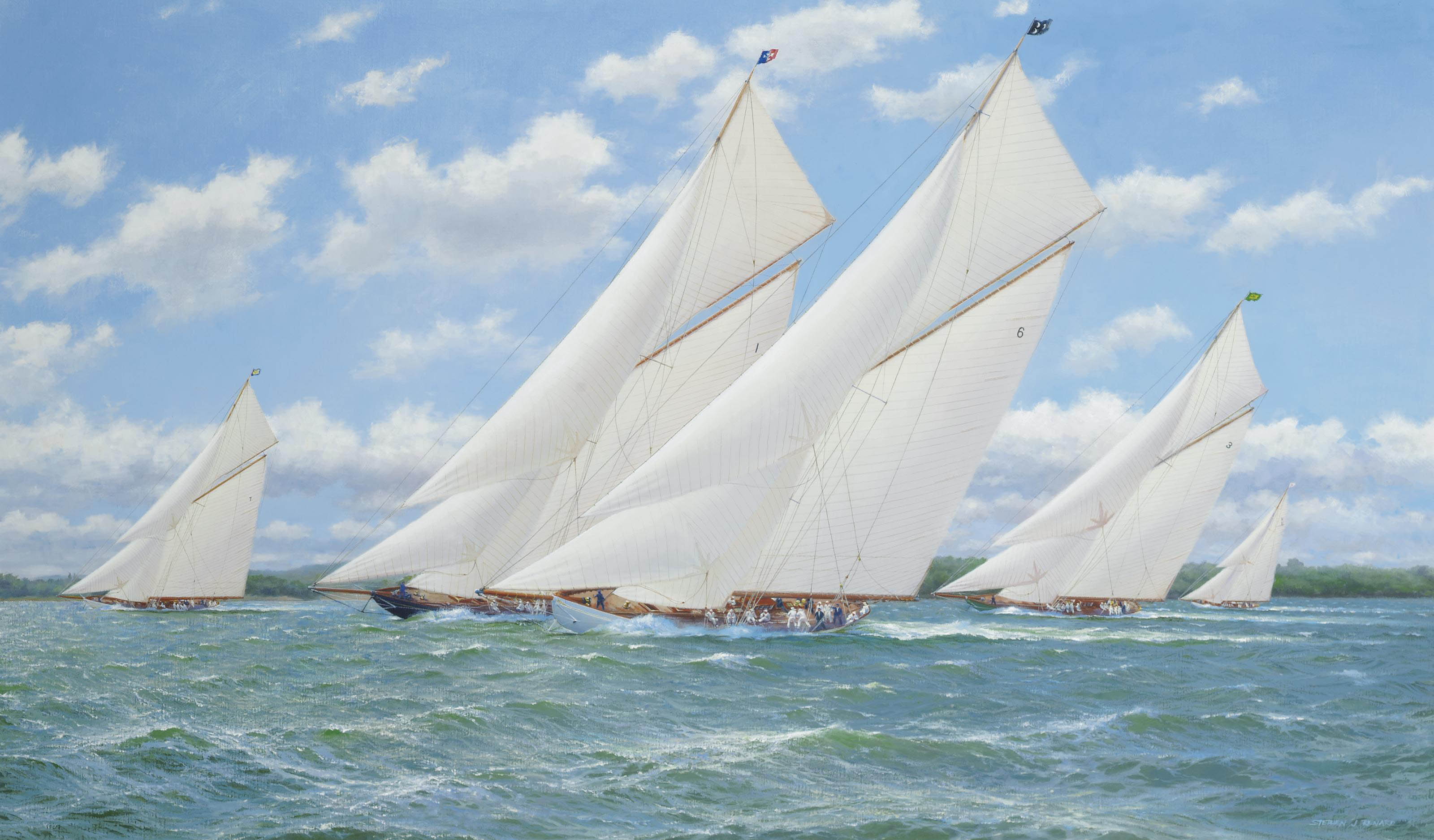 White Heather (II) leading the pack in the Solent with Lulworth and Britannia to leeward  and Shamrock (V) and Candida astern