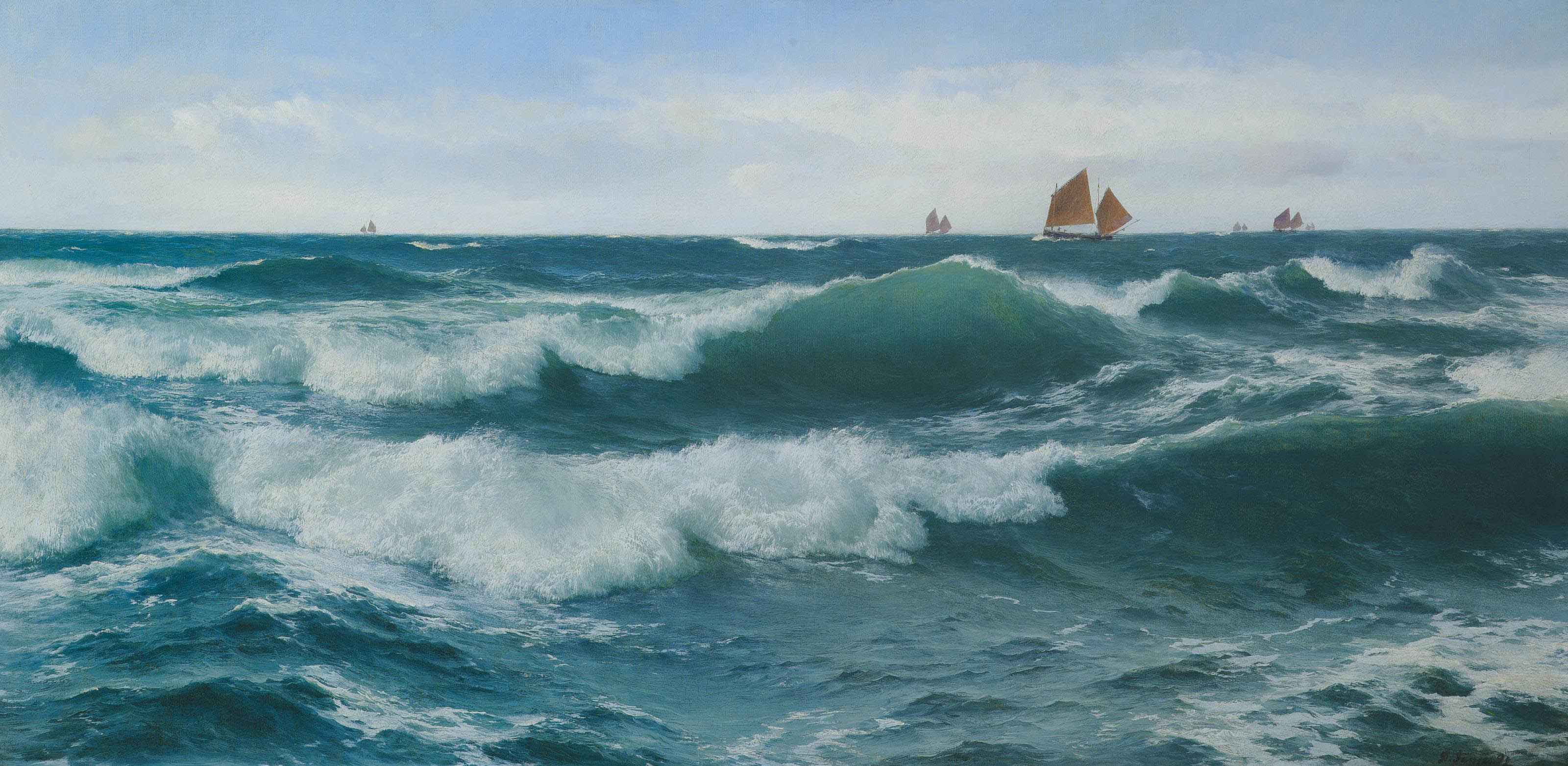 Waves breaking in shallow waters with boats off to the fishing grounds beyond