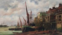 Shipping on the Thames before the 'Prospect of Whitby' at Wapping
