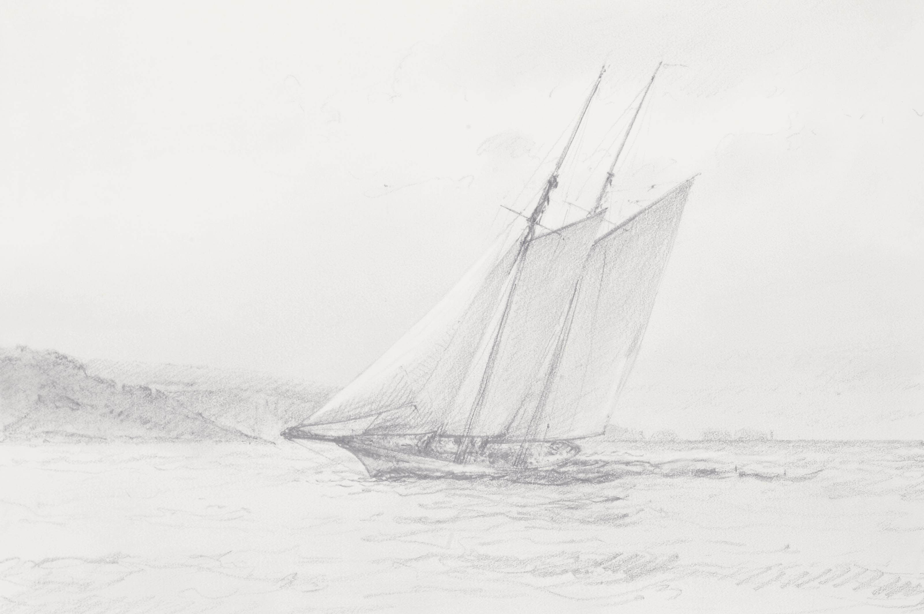 Racing yachts battling for line honours as they approach the Royal Yacht Squadron line; and A schooner reaching in the Solent with the Needles astern (illustrated)