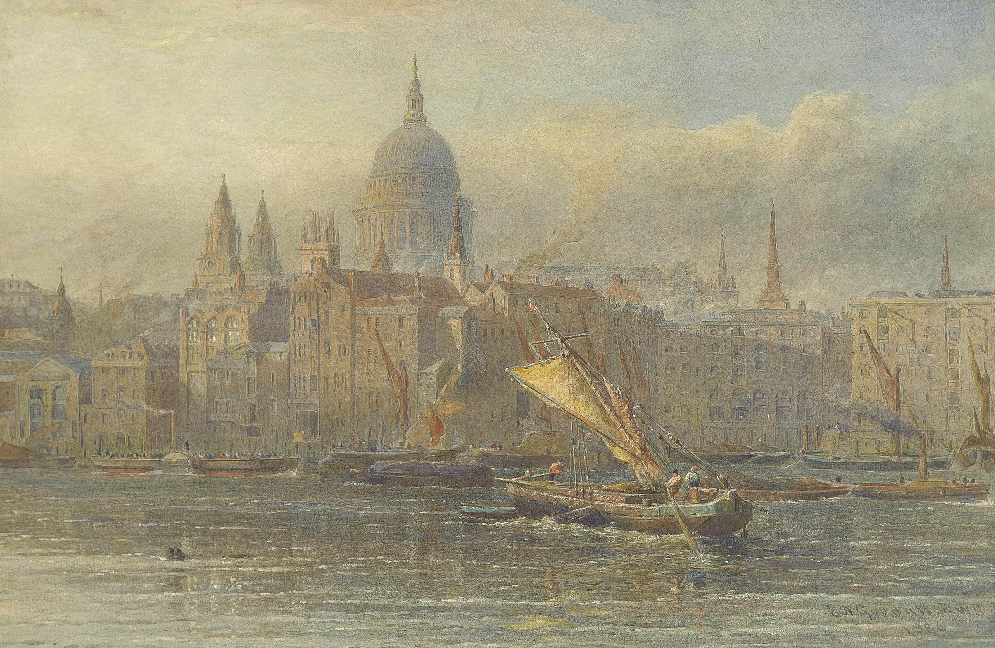 A paddle steamer and barges on the Thames before St. Paul's Cathedral