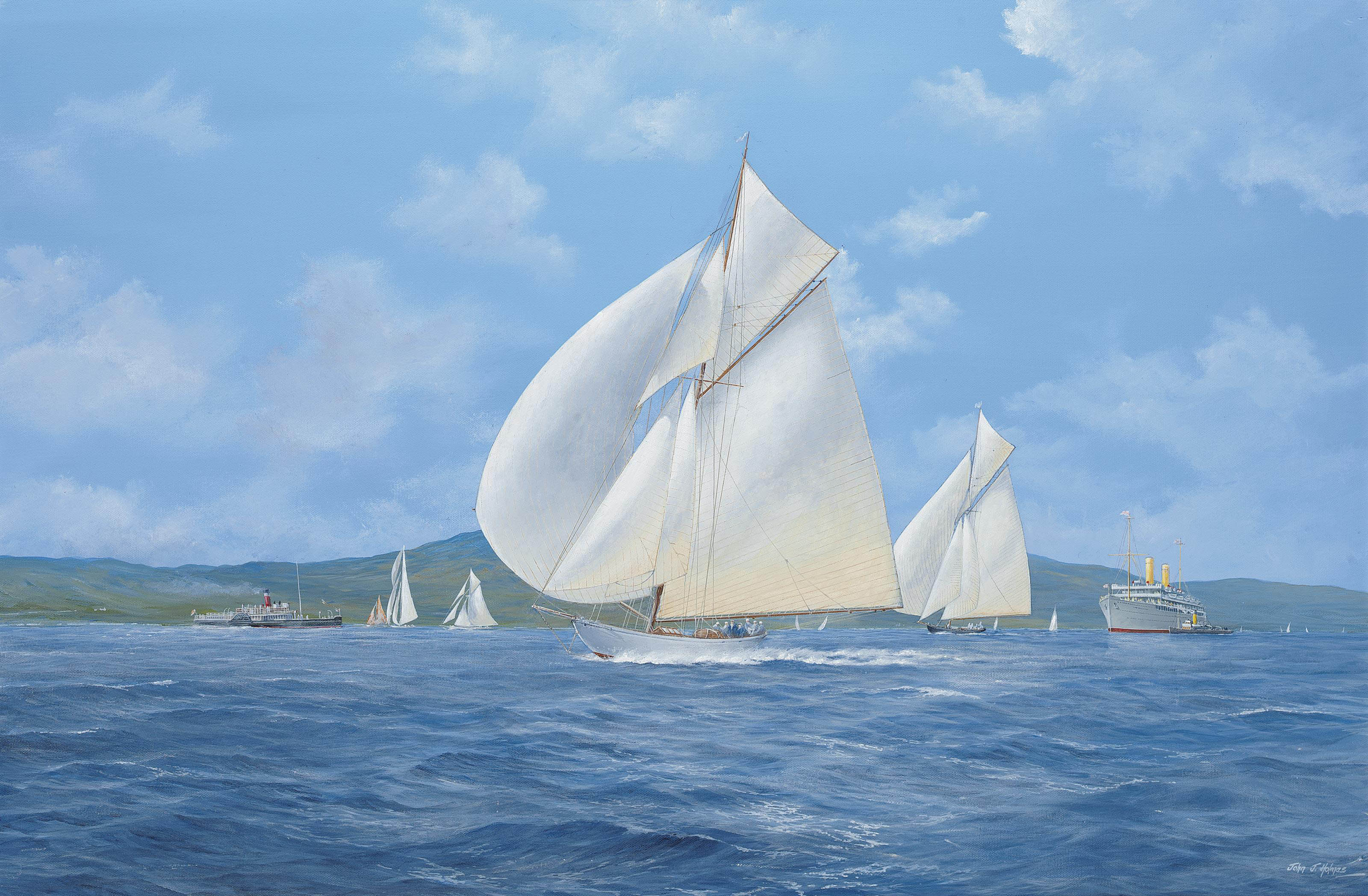 Sonya and Candida racing downwind on the Clyde with the paddle steamer Marmion and H.M.S. Balmoral Castle astern of them (illustrated); and Lulworth and Candida racing on the Clyde with the Union Castle Line's Edinburgh Castle at anchor beyond