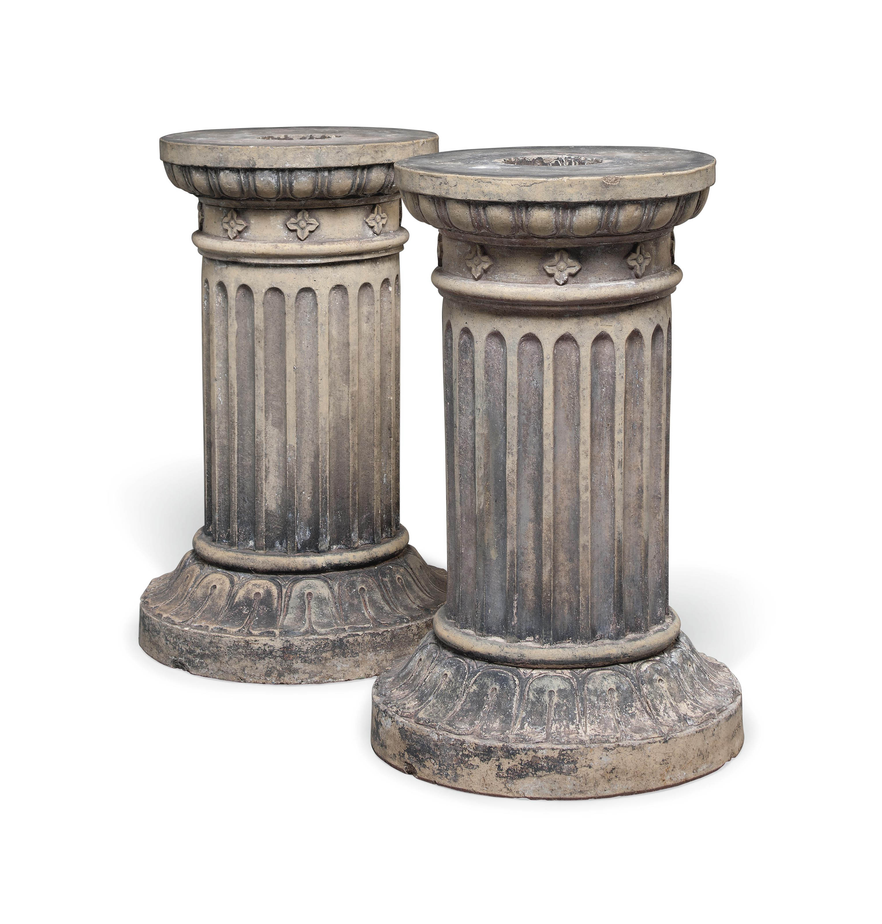 A PAIR OF SCOTTISH FLUTED TERRACOTTA PEDESTALS