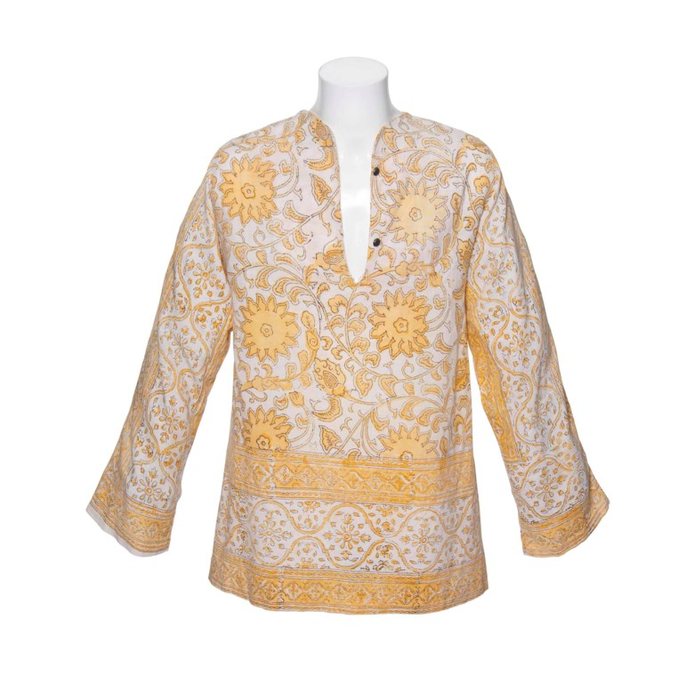 The Rolling Stones, a long-sleeved cotton tunic printed with yellow flowers and leaf and foliate motifs; and a yellow cotton scarf -- worn by Mick Jagger in the late 1960s and given to Prince Stash Klossowski de Rola. Sold for £23,750 on 12 June 2012 at Christie's in London, South Kensington
