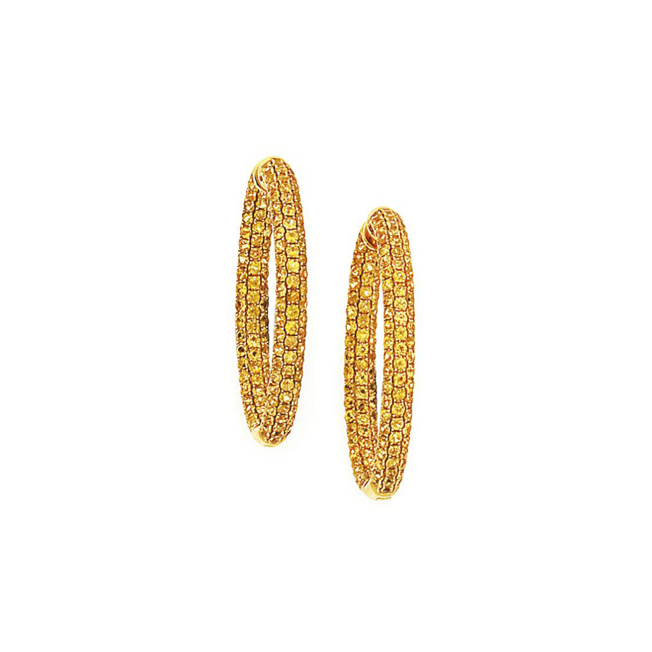A pair of yellow sapphire earhoops