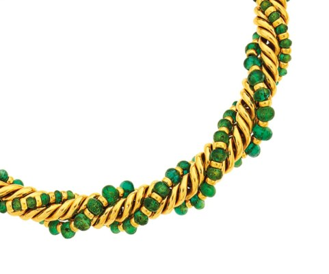 An emerald-set necklace