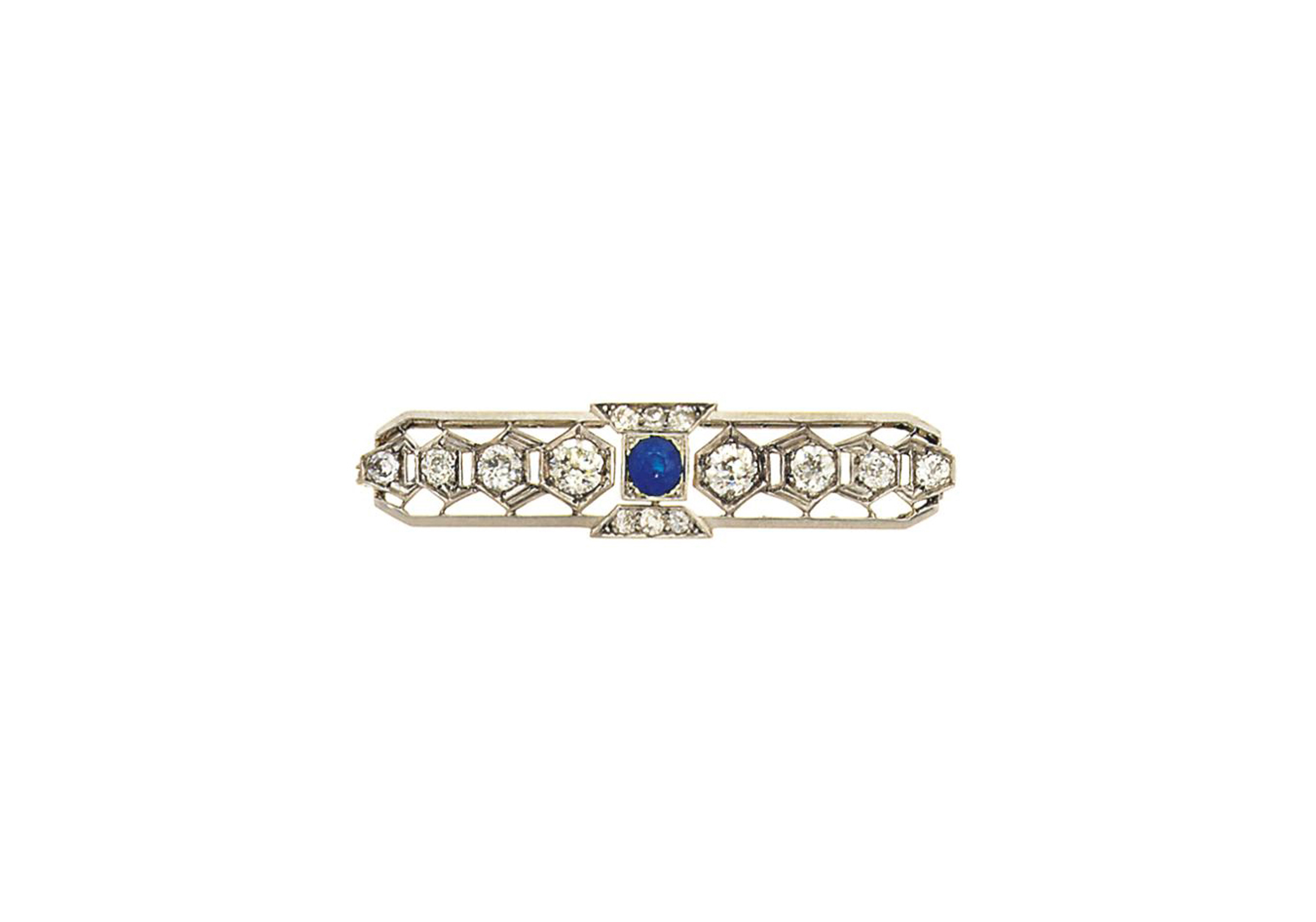 An Art Deco diamond and sapphire brooch