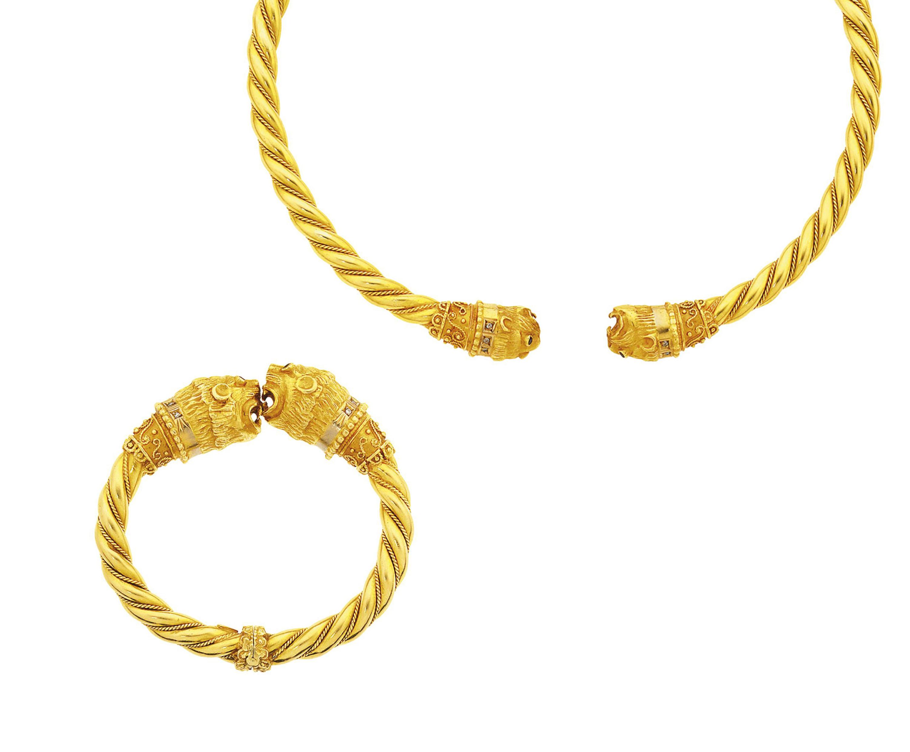 A gem-set torc necklace and bangle