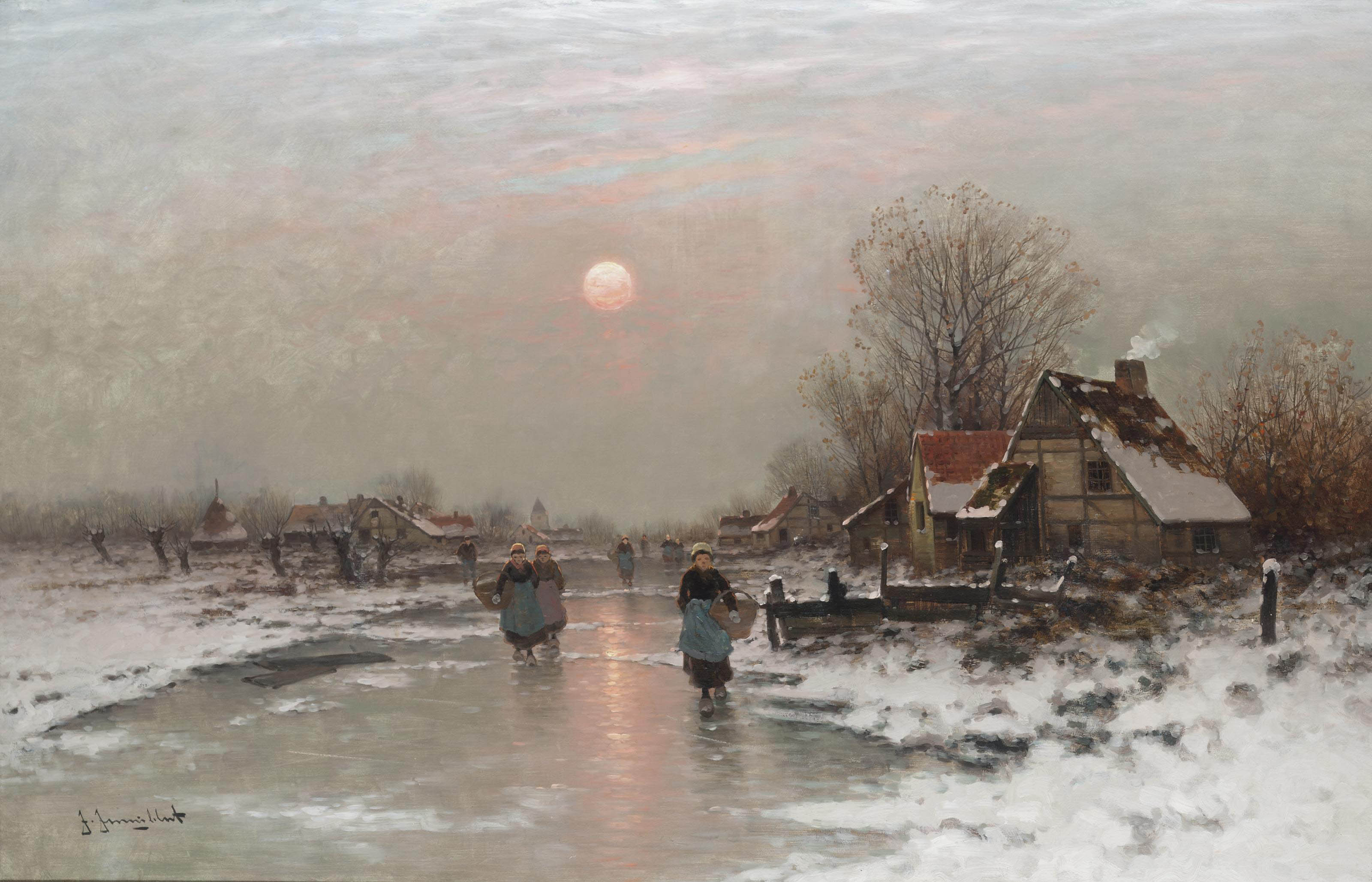 Dutch peasants on a frozen waterway at sundown