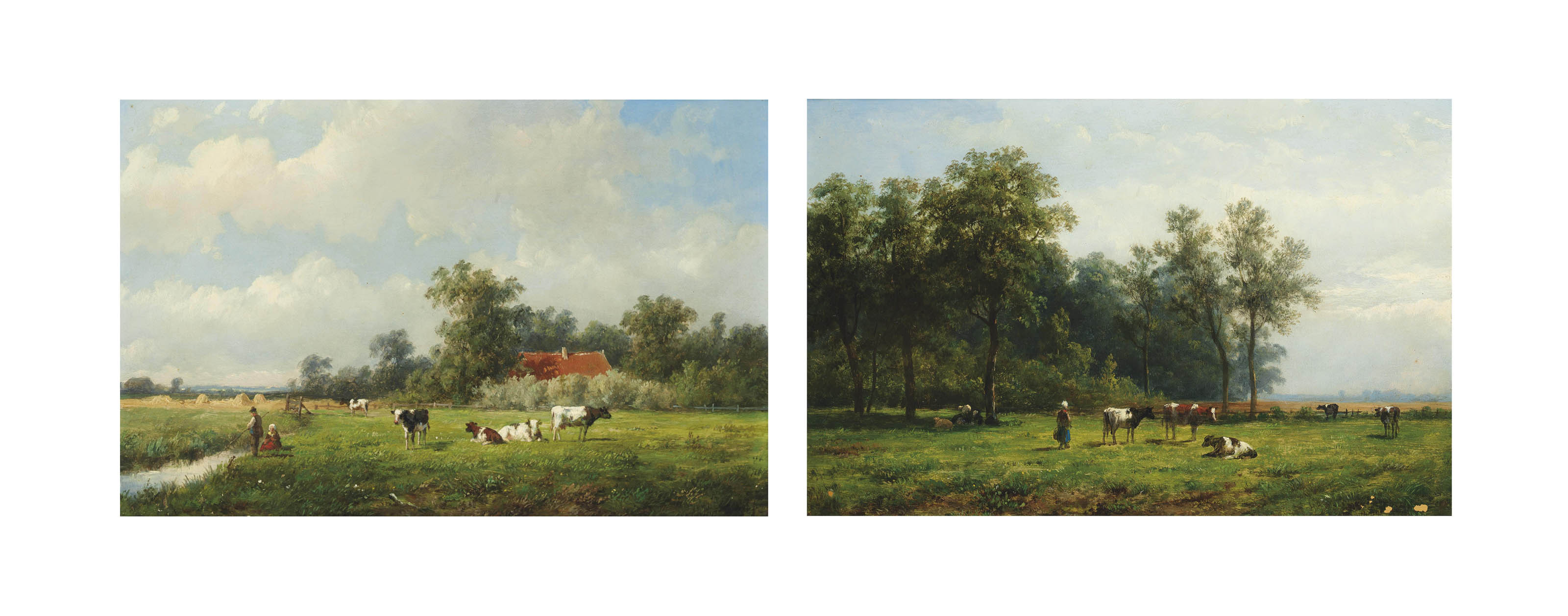 Fishing in a dyke; and Tending to cattle in a pastoral landscape