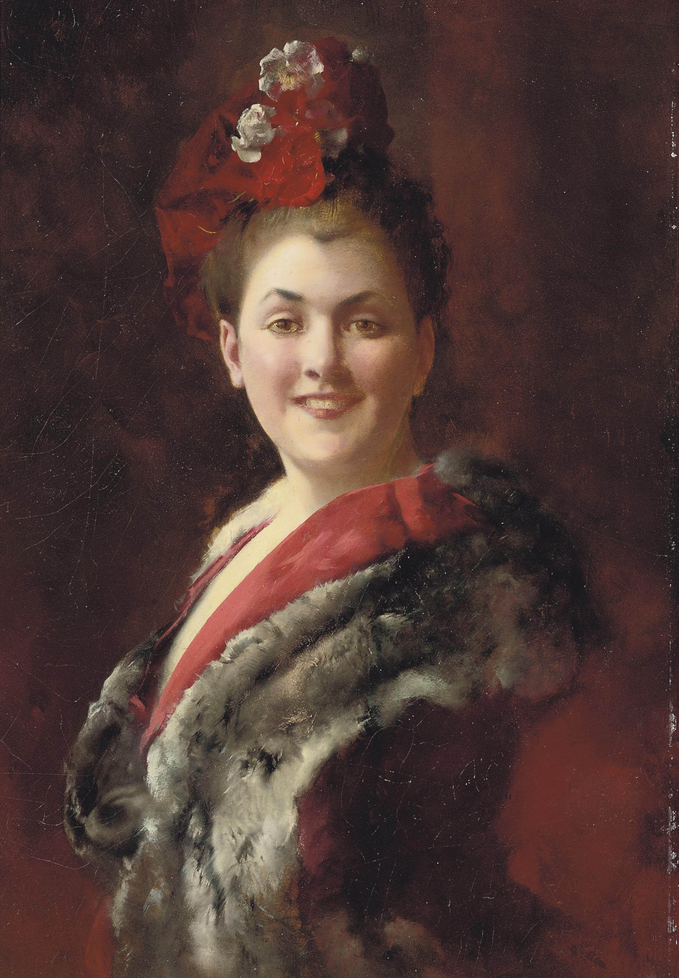 Gustave-Jean Jacquet (French, 1846-1909) | A lady in a fur-lined ...