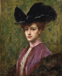 An elegant lady in a black hat