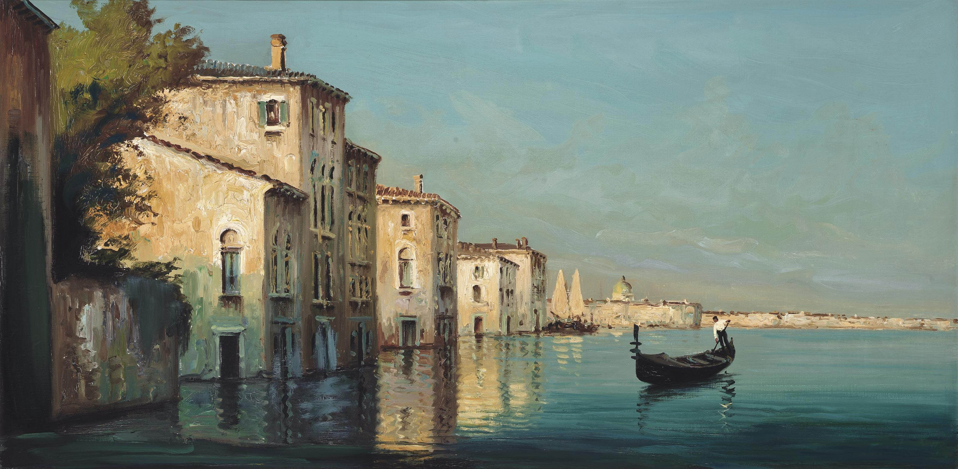 A gondolier on the Venetian lagoon
