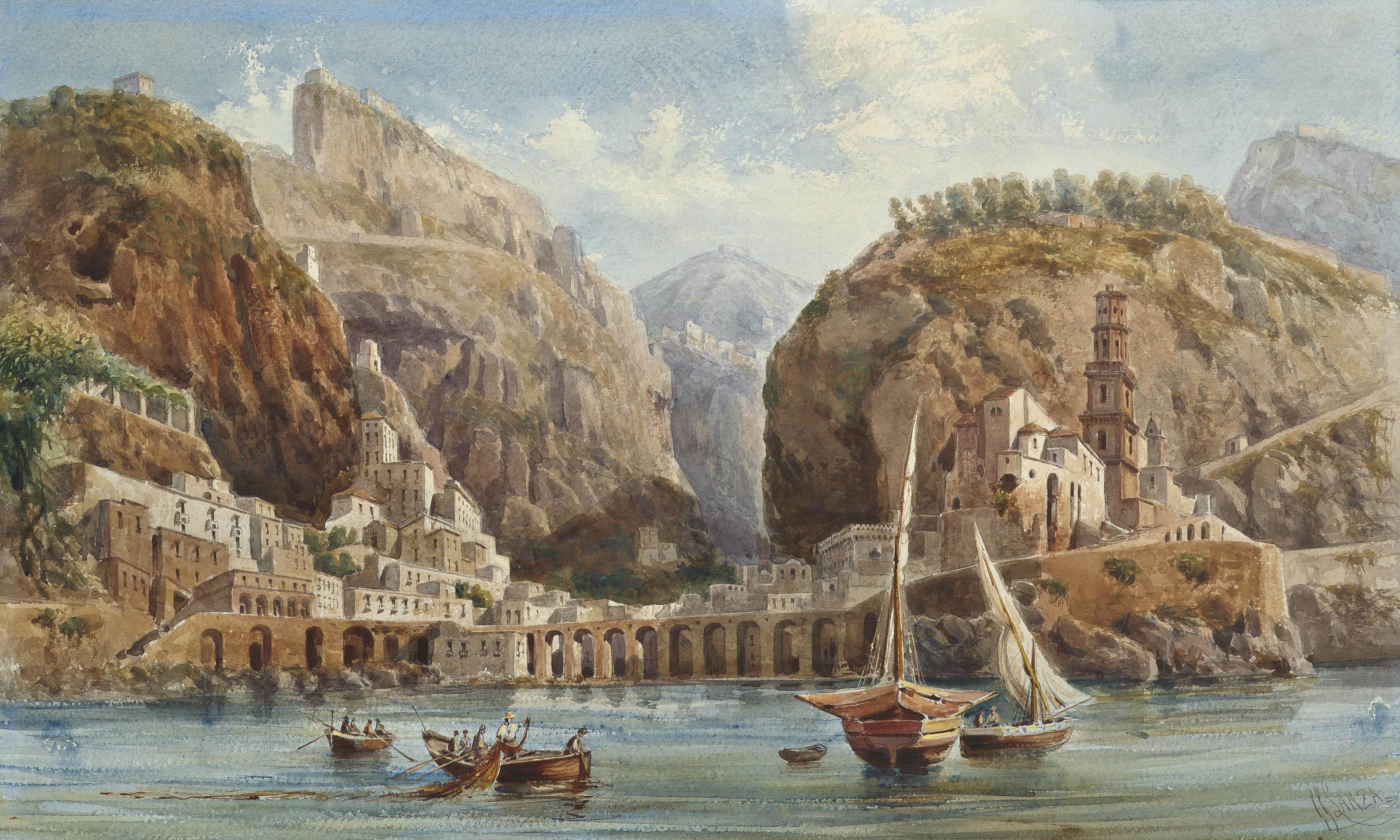 Fishing at Atrani on the Amalfi coast