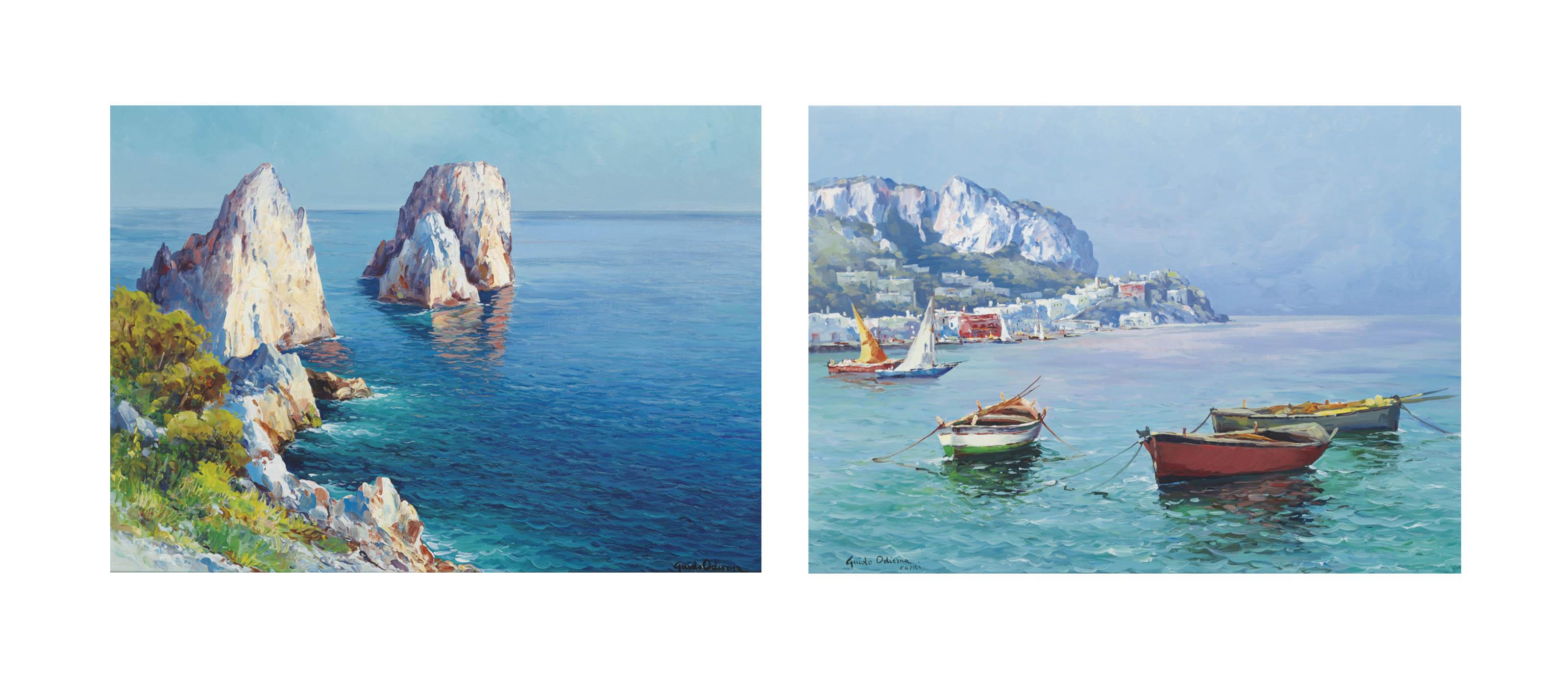 I Faraglioni; and Boats in a bay, Capri