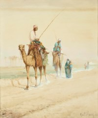 Arab travellers on an Egyptian road