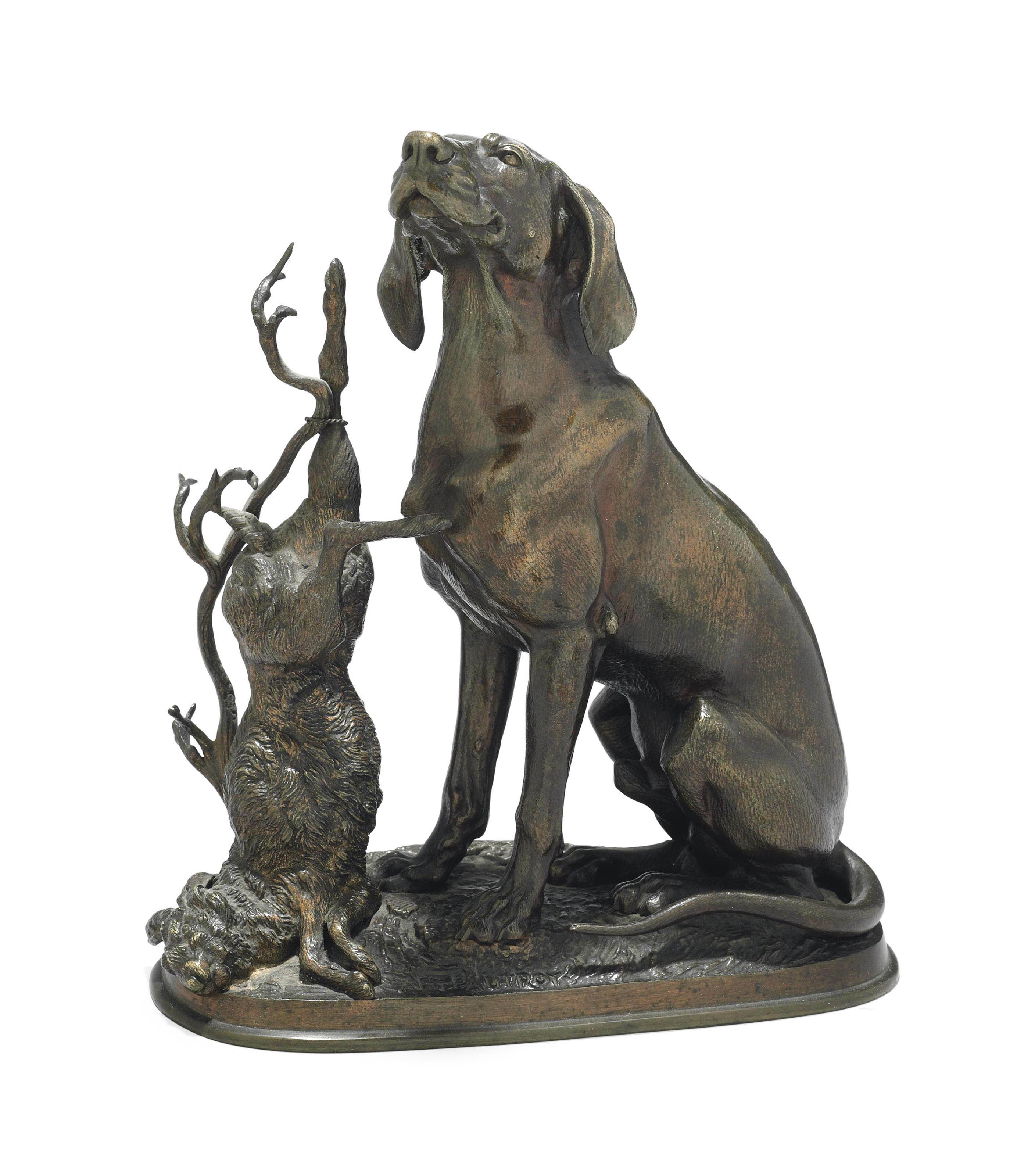 A FRENCH BRONZE MODEL OF A DOG AND A HARE