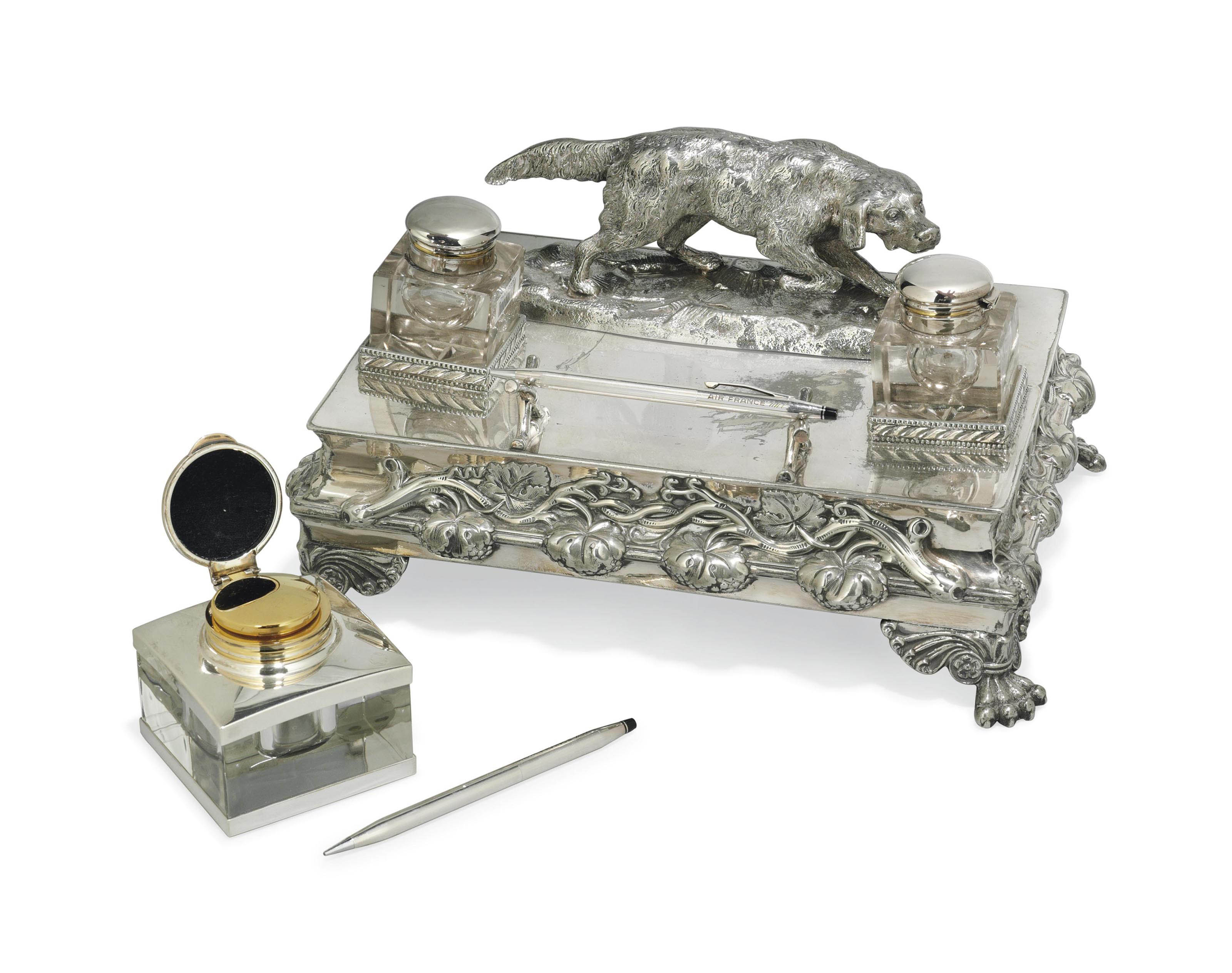 A VICTORIAN ELECTROPLATED INKSTAND