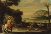 Figures in oriental attire on horseback hunting ostriches in an exotic landscape