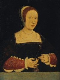 Portrait of a lady, half-length, in a jewel encrusted dress and cap, a red carnation in her right hand