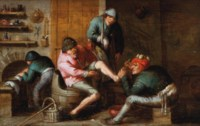 A quack operating on the foot of a peasant, with other figures, in a kitchen interior; and A couple sitting at a table with a pitcher and a pipe, in an interior