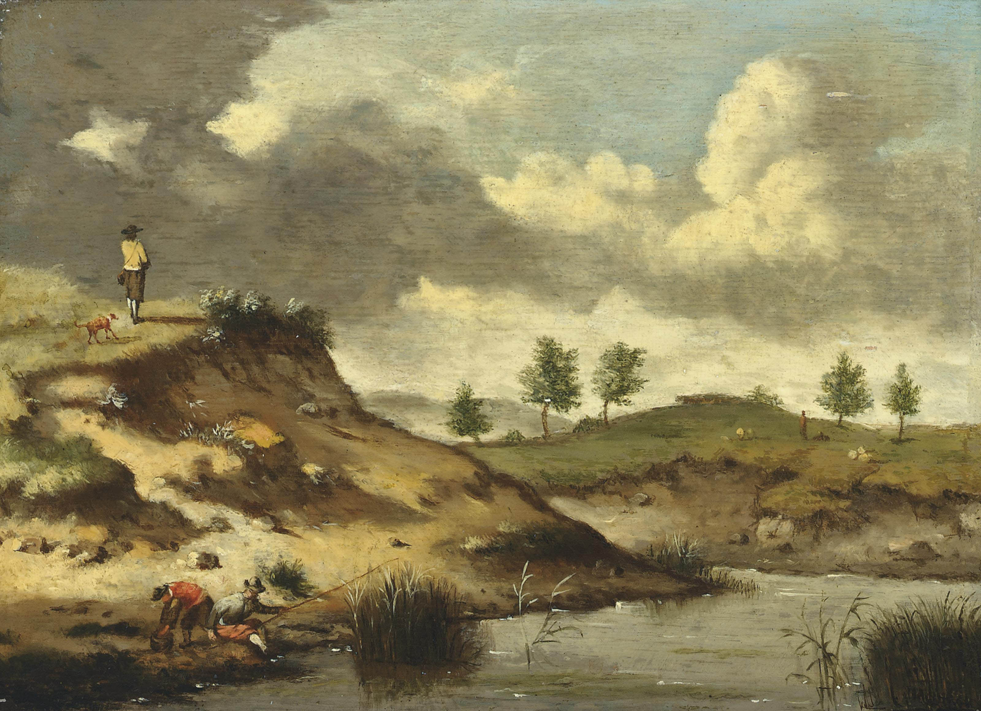 A river landscape with anglers on a bank, a traveller and his dog on a track