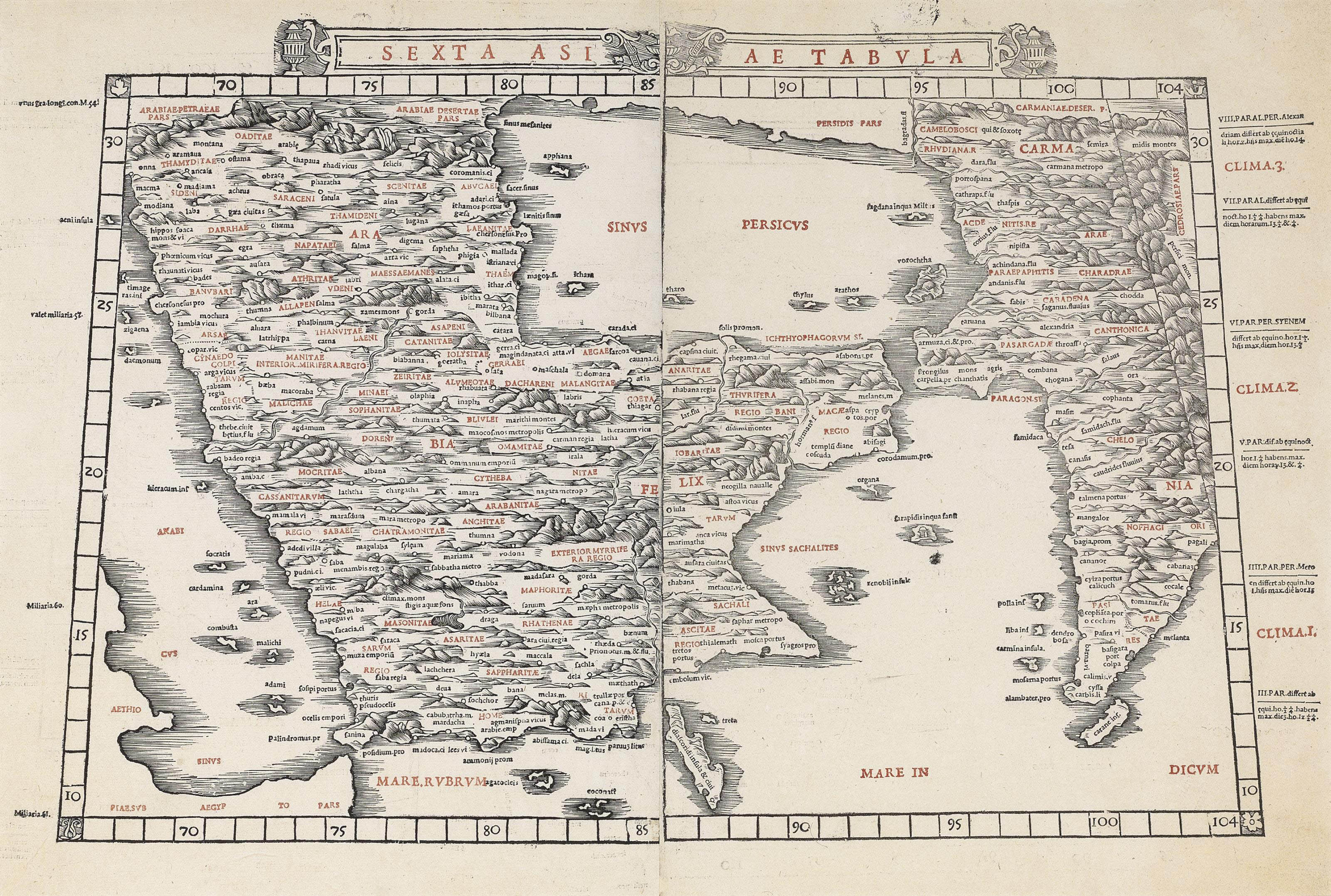 PTOLEMAEUS, Claudius (c.100-170) -- SYLVANUS, Bernard editor. Sexta Asiae Tabula [Arabia]. [Venice: Jacobus Pentius de Lencho, 1511.] Double-page woodcut map printed in black, topoynms printed in red by the use of letter punches (the whole sometime removed from backing and skimmed, removing all but faint traces of the maps to verso, the eastern half skimmed extremely thinly, the whole laid down on japan, tiny losses to centrefold), 402 x 550mm.