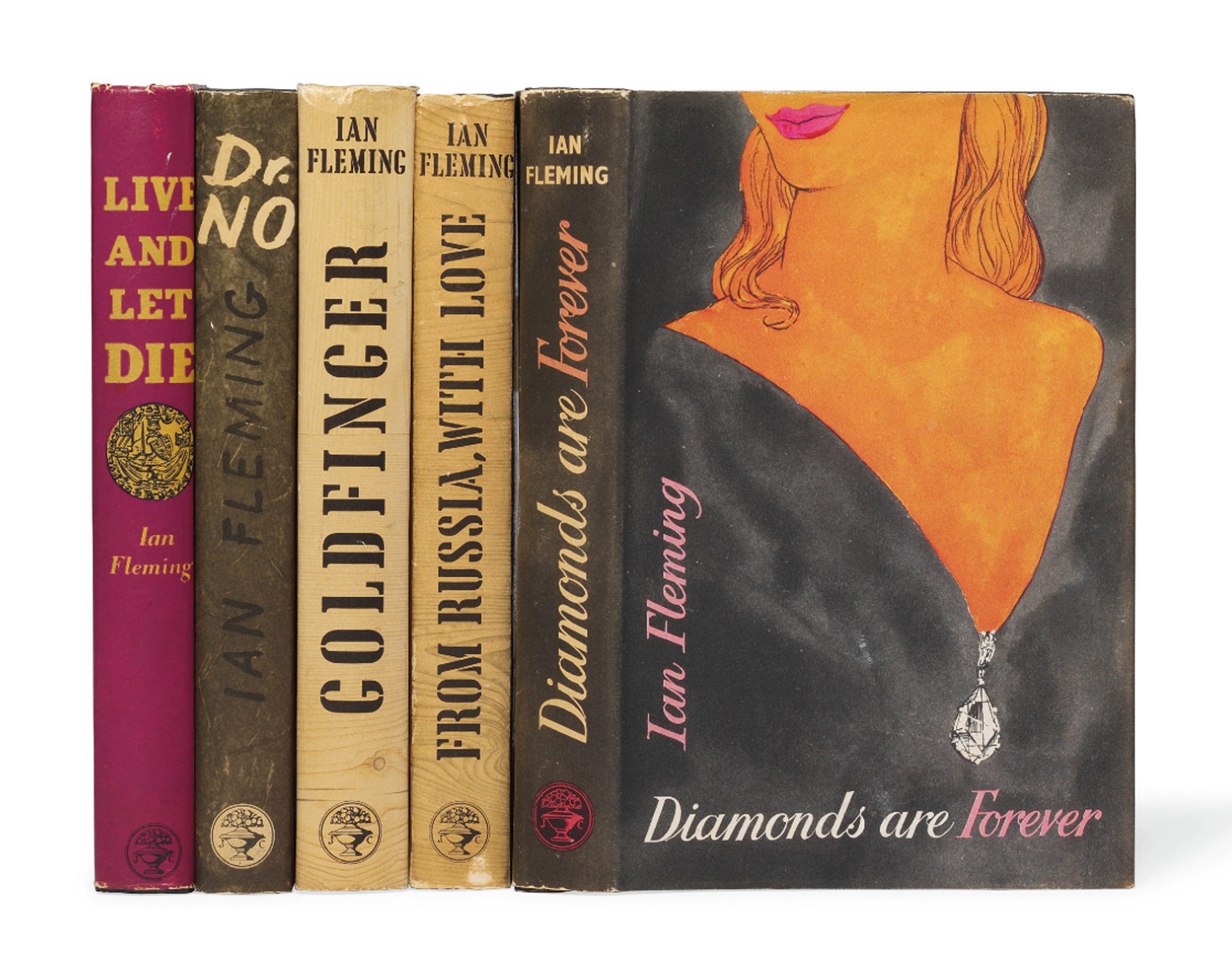 FLEMING, Ian (1908-64). Diamonds are Forever. London: Jonathan Cape, 1956. 8° (188 x 122mm). (Marginal staining to first 5 leaves and light marginal spotting to last 2.) Original black decorated cloth, title in silver on spine, original pictorial dust-jacket (a few stains to back cover, edges lightly spotted, extremities of dust-jacket lightly rubbed, light staining to front flap). Provenance: Foyles (bookseller's ticket).