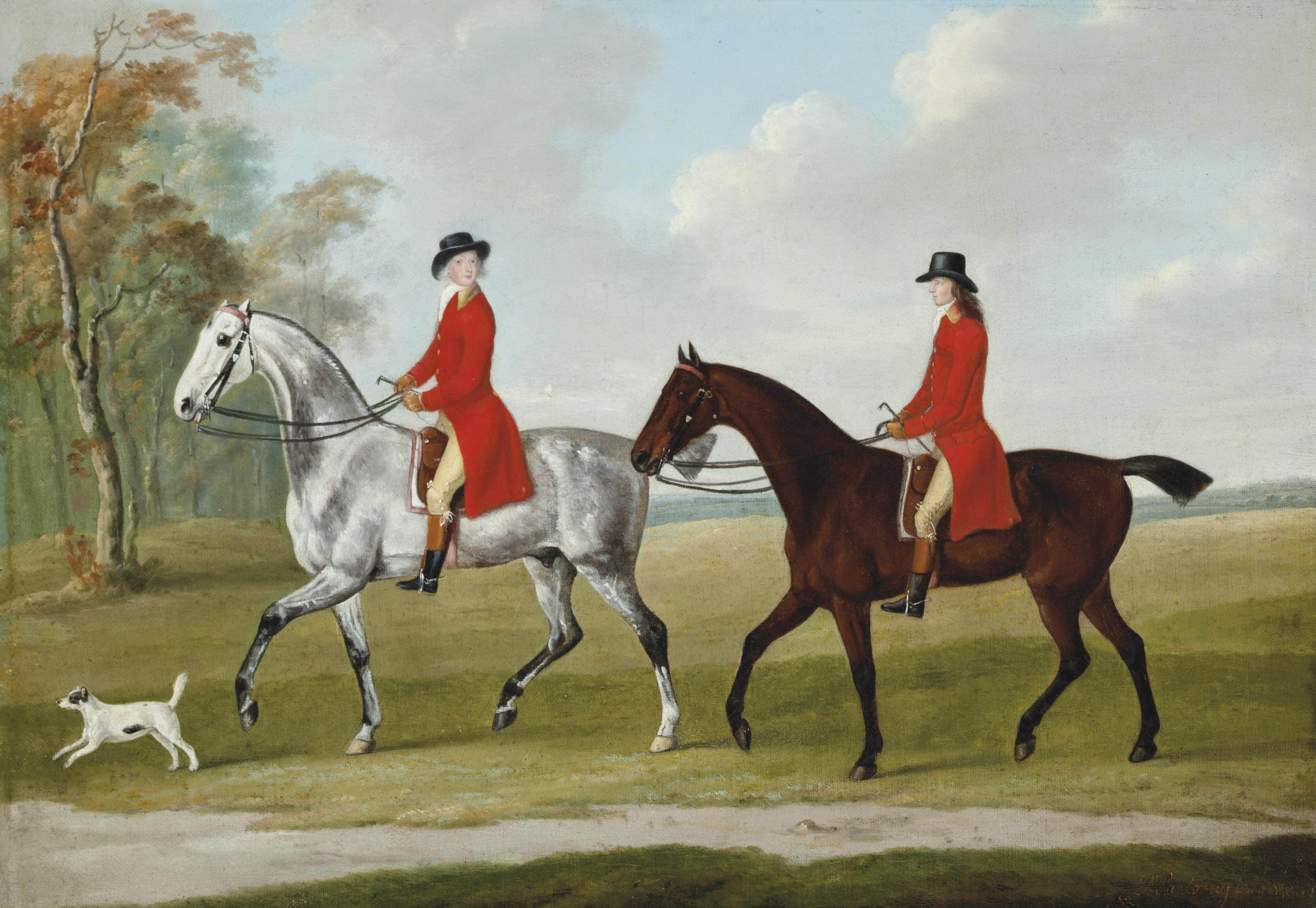 John and Andrew Corbet on two hunters, with a terrier, in an extensive landscape