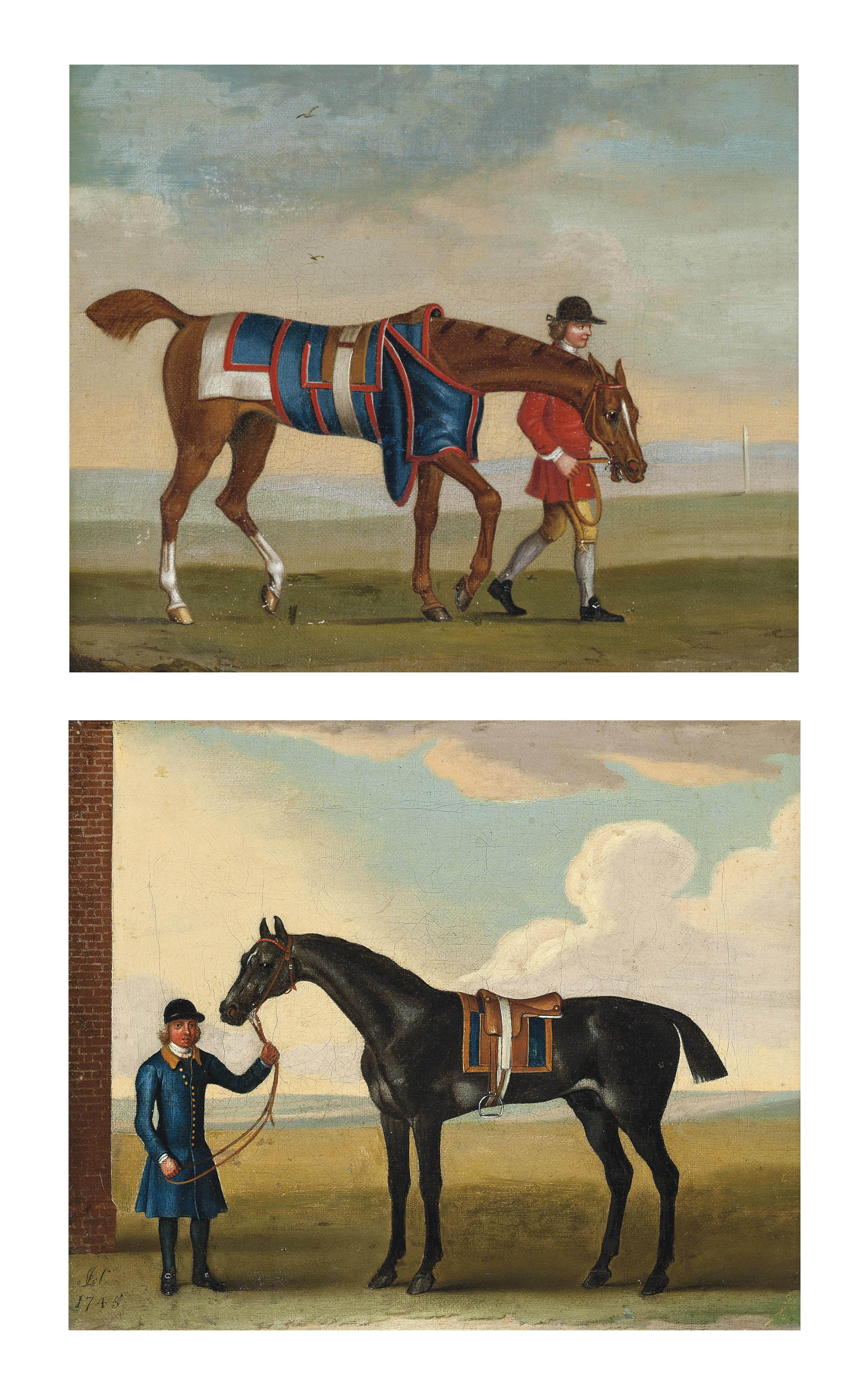 A groom with a grey racehorse; and A groom with a chestnut racehorse