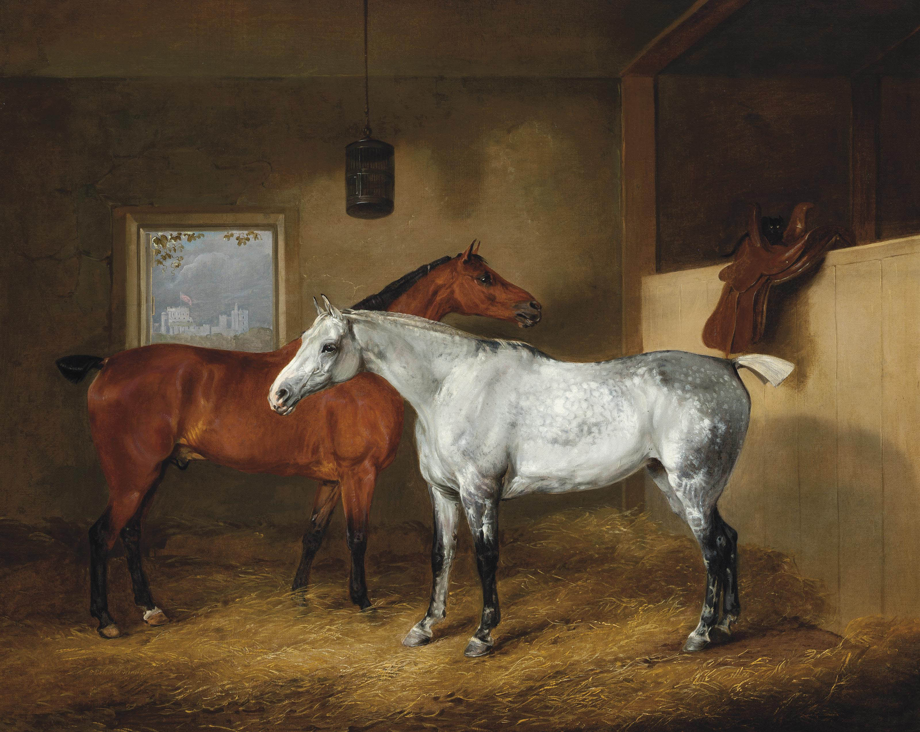 A dappled grey and a chestnut hunter in a stable, with Windsor Castle beyond