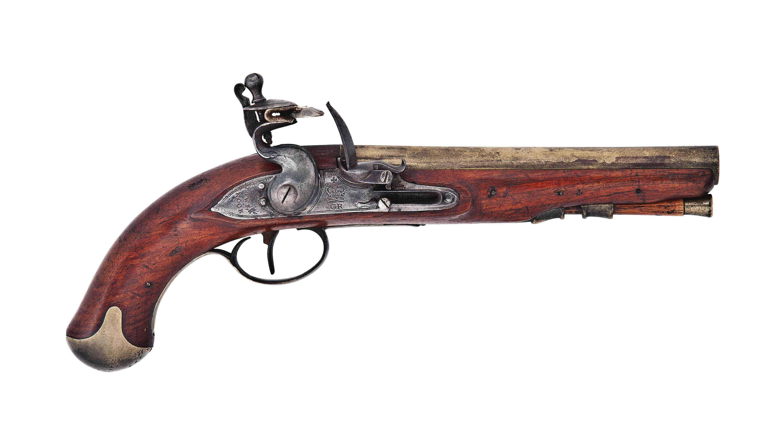 A RARE 25-BORE BRASS-BARRELLED FLINTLOCK SERVICE PISTOL DESIGNED FOR PHILIP D'AUVERGNE, PRINCE OF BOUILLON