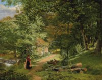 A mother and child on a wooded path before a watermill