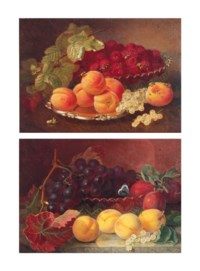 A glass dish of raspberries with a silver salver with peaches and white currants on a table; and A cut-glass dish with grapes and plums, a butterfly perched on the rim of the dish, on a marble ledge