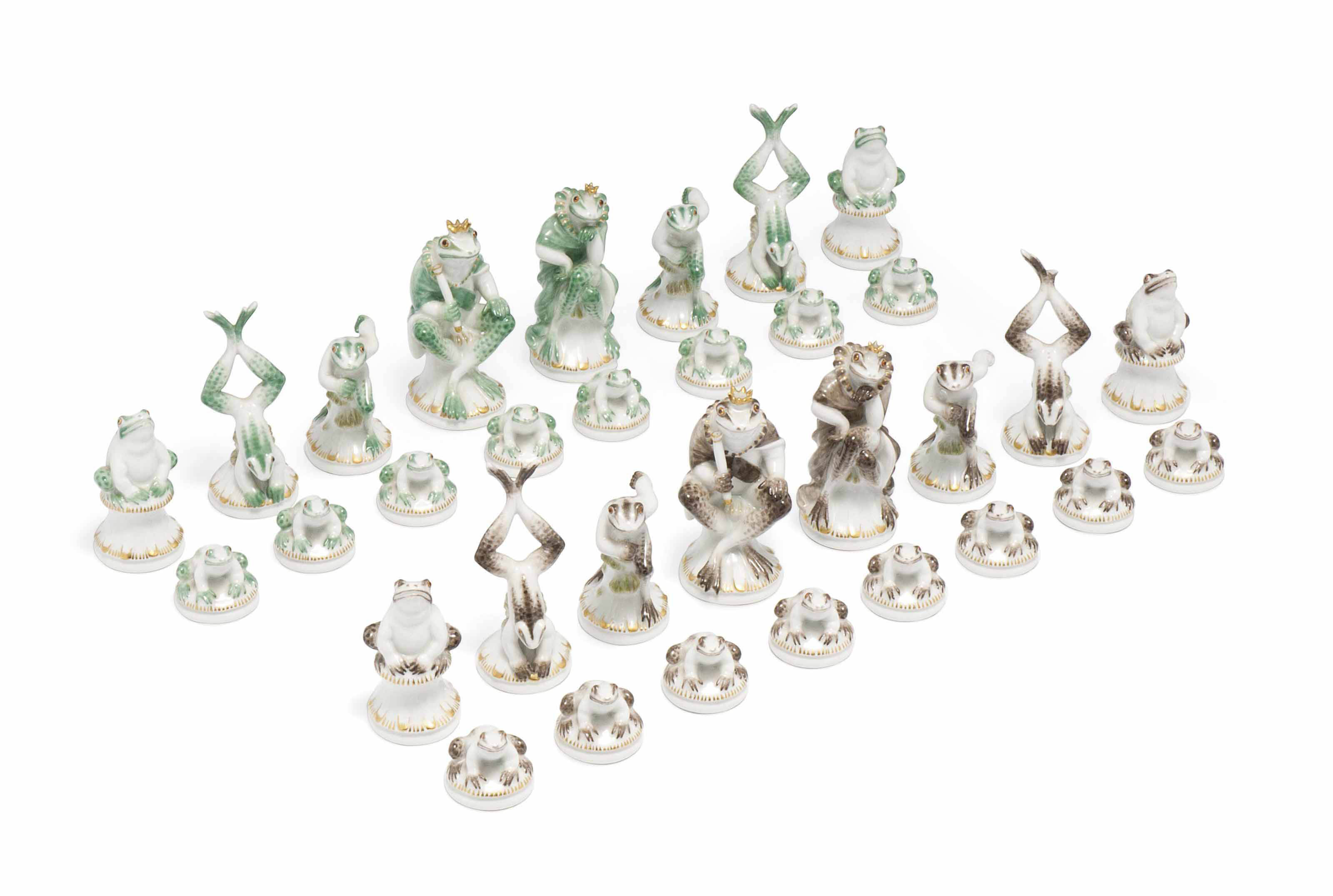 A MEISSEN 'FROG' CHESS SET | DATE CODES FOR 1976, BLUE