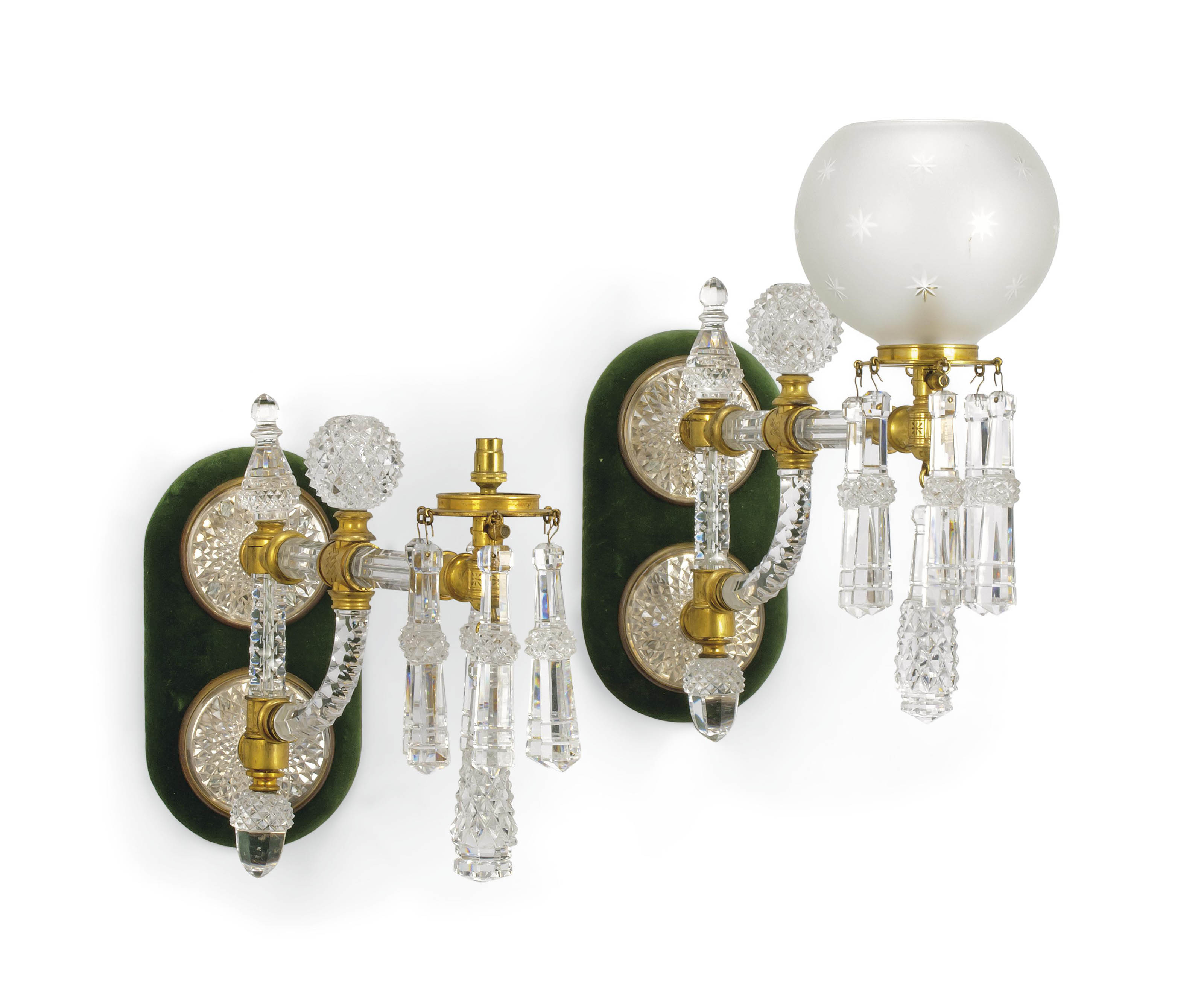A PAIR OF VICTORIAN CUT-GLASS AND GILT-METAL ADJUSTABLE WALL-APPLIQUES