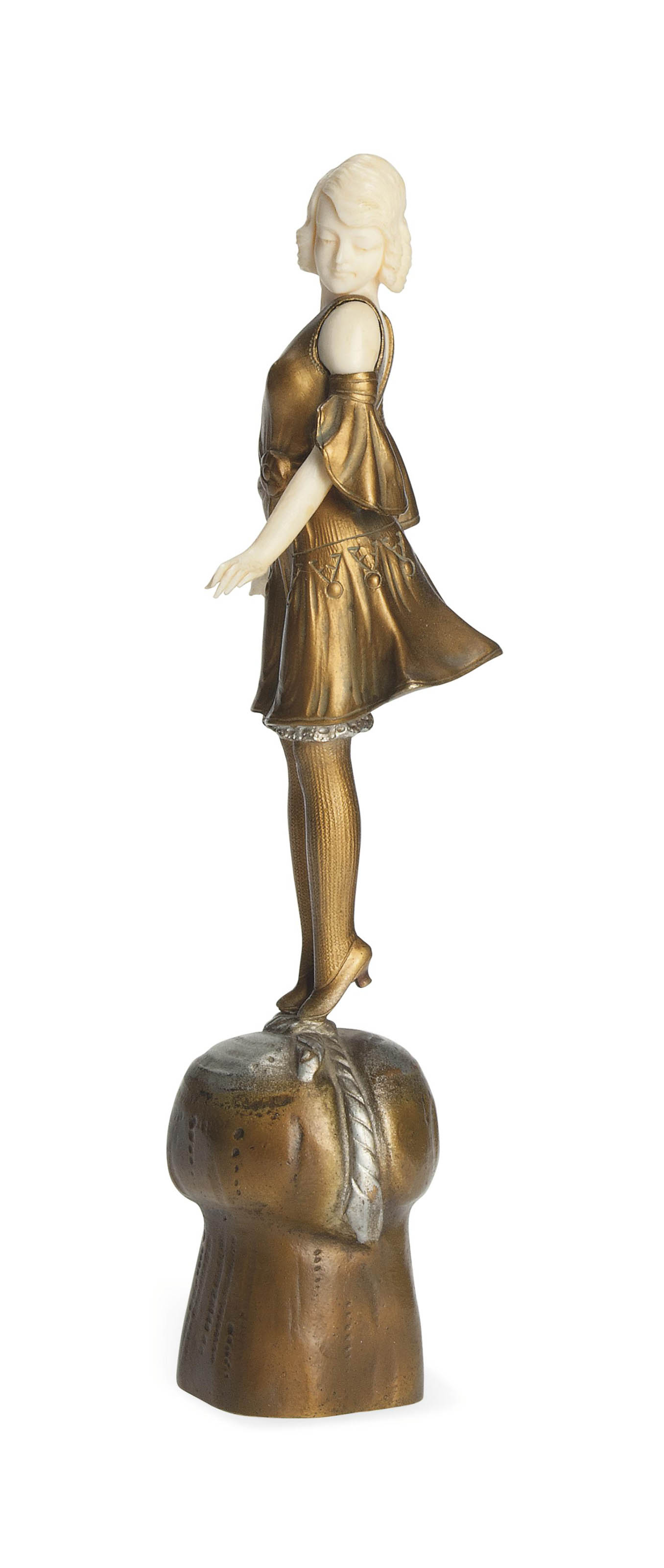 'CHAMPAGNE GIRL' A PROFESSOR OTTO POERTZEL COLD-PAINTED BRONZE AND IVORY FIGURE