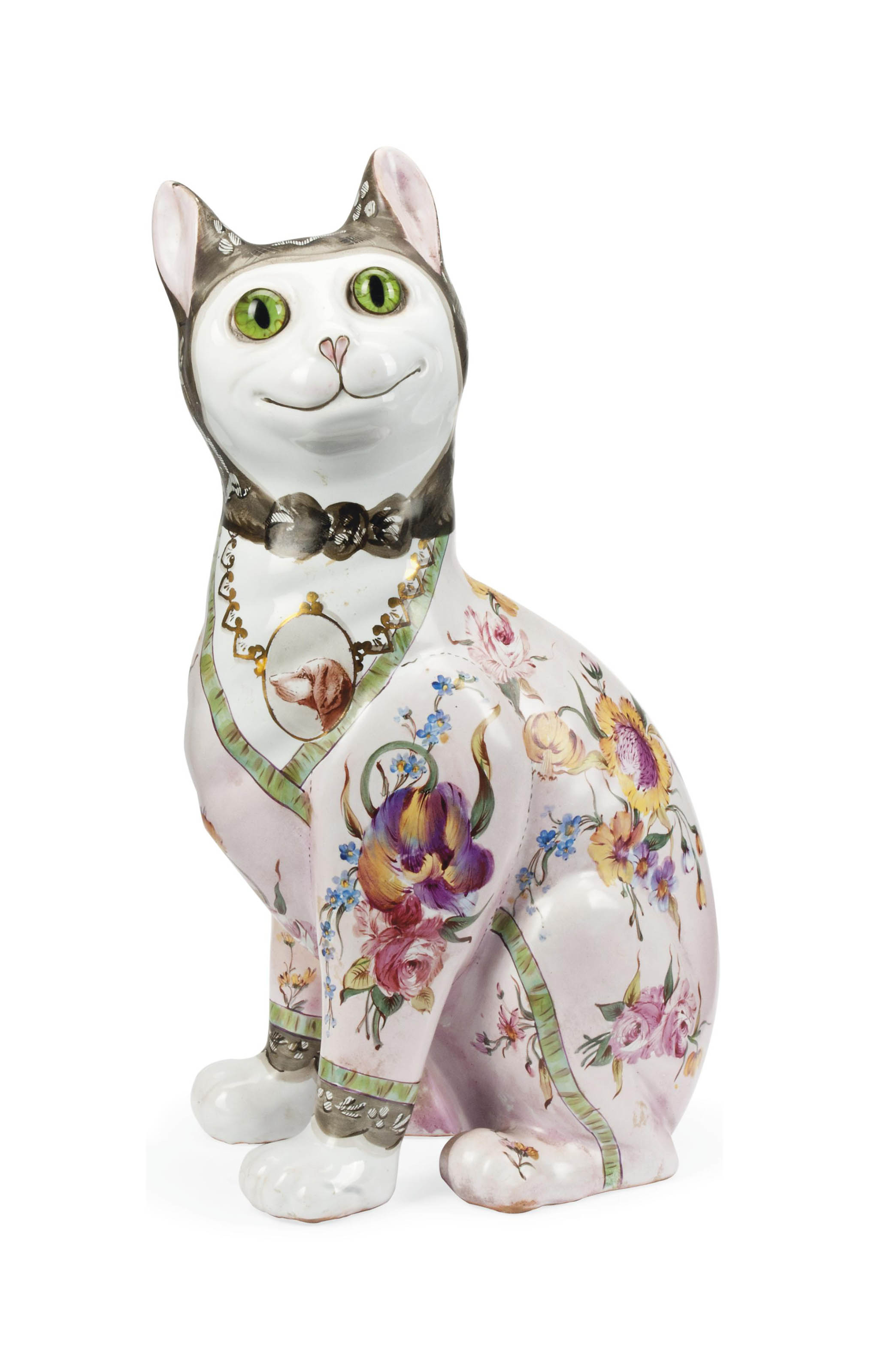 AN EMILE GALLÉ FAEINCE MODEL OF A CAT