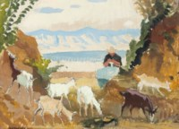 Woman Knitting, with Goats