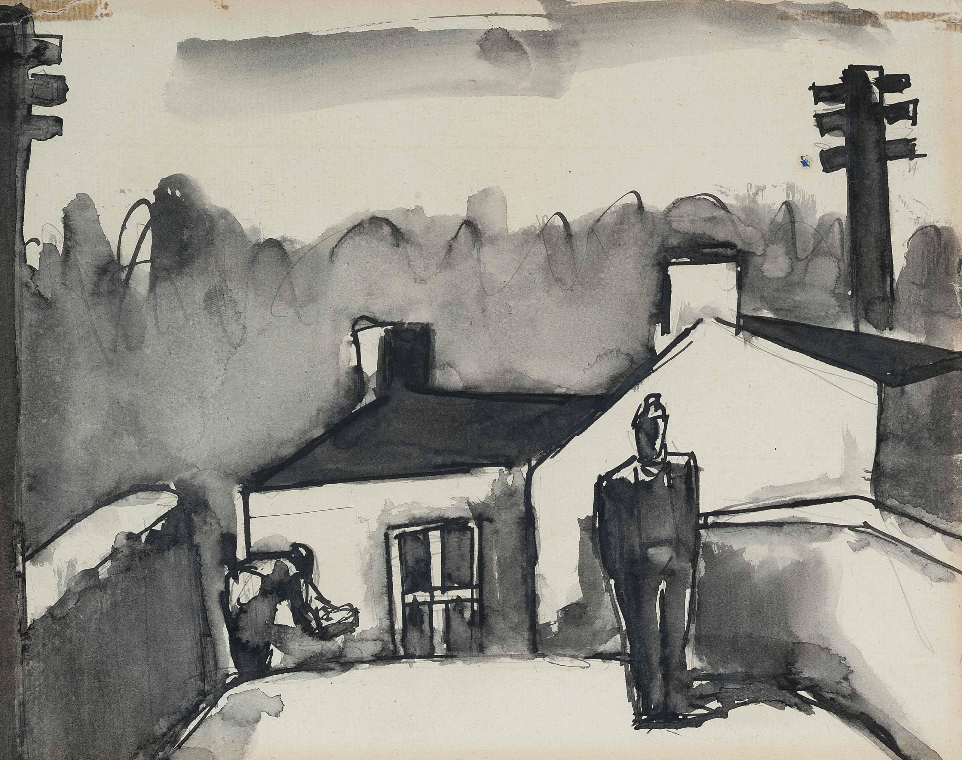 Josef Herman R A 1911 2000 On The Bridge Autumn