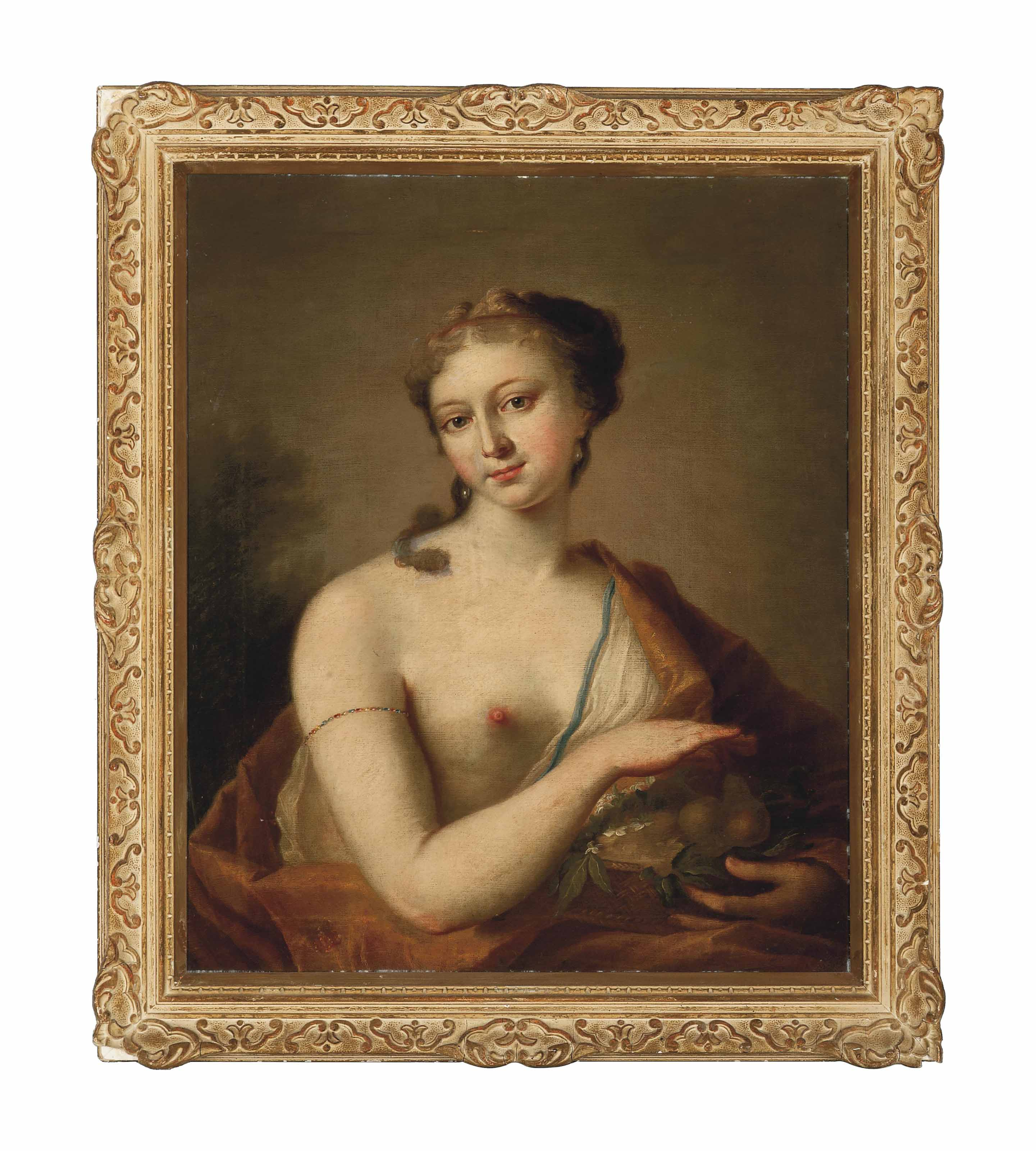 Portrait of a lady as Summer, bust-length, wearing an orange robe over one shoulder, holding a basket of fruit