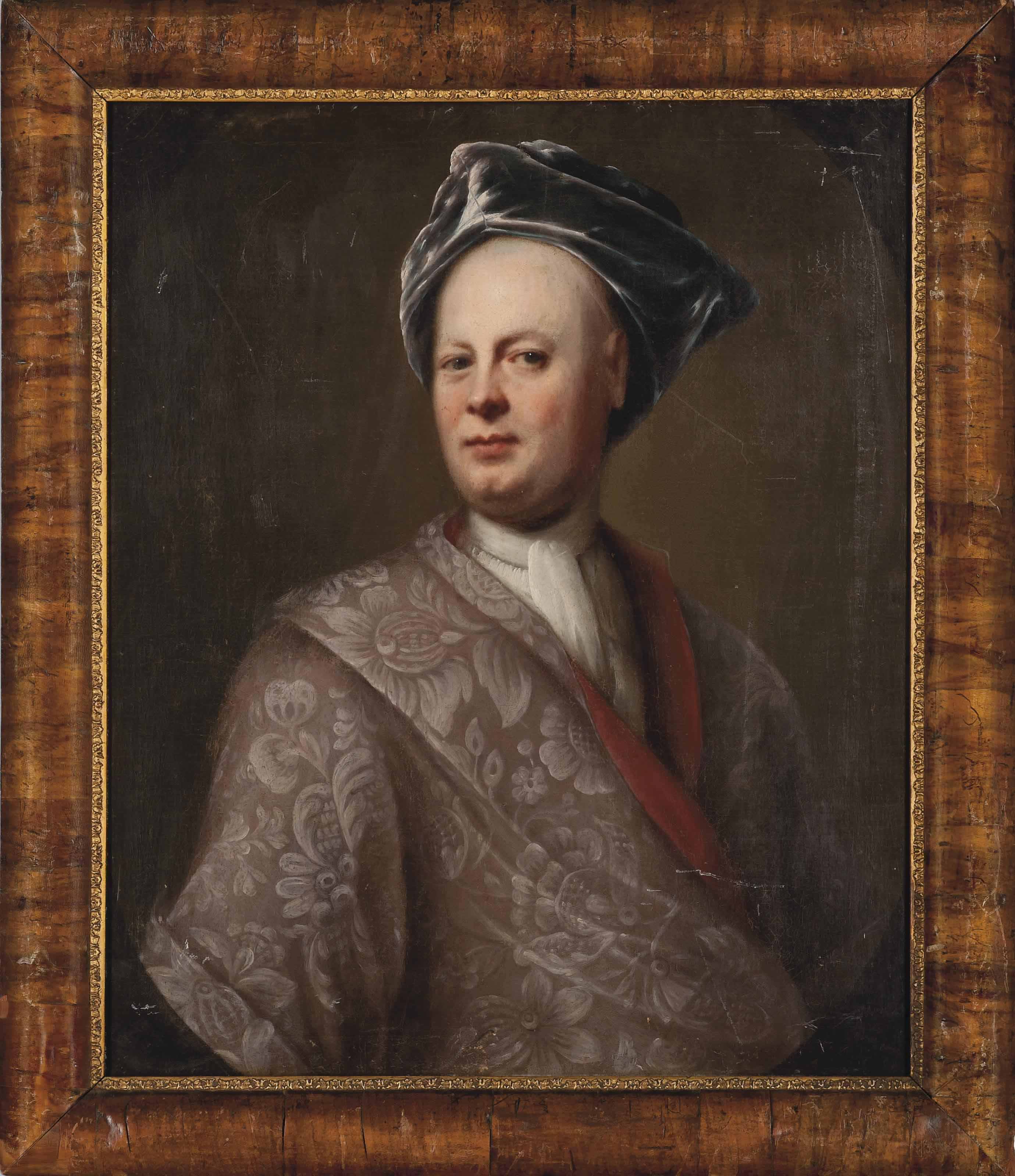 Portrait of a gentleman, bust-length, in a purple coat and turban, in a feigned oval